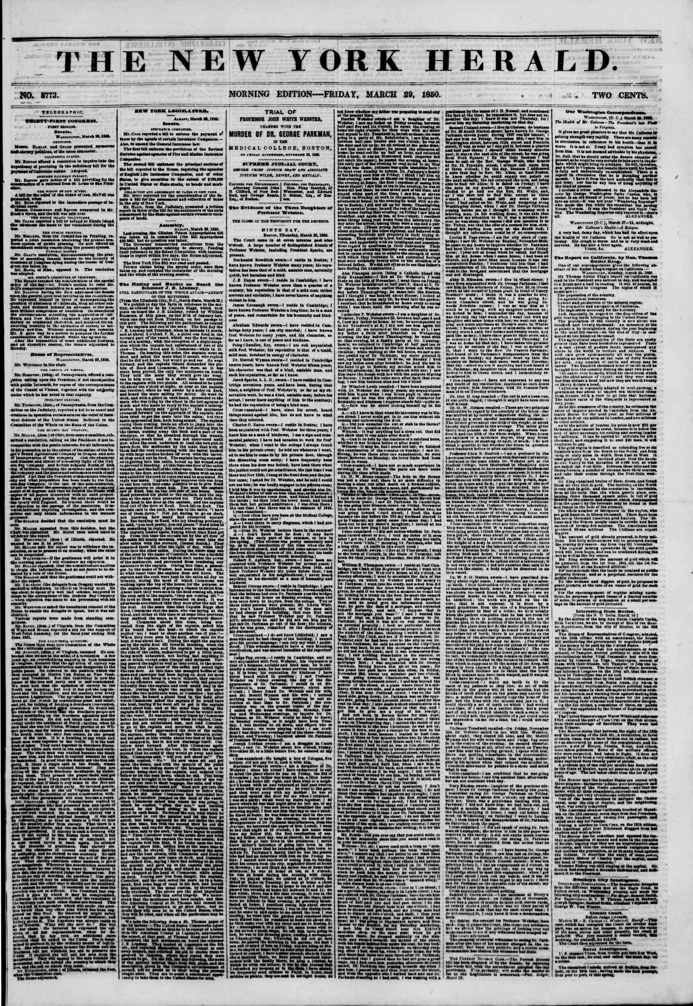 Newspaper of The New York Herald dated March 29, 1850 Page 1