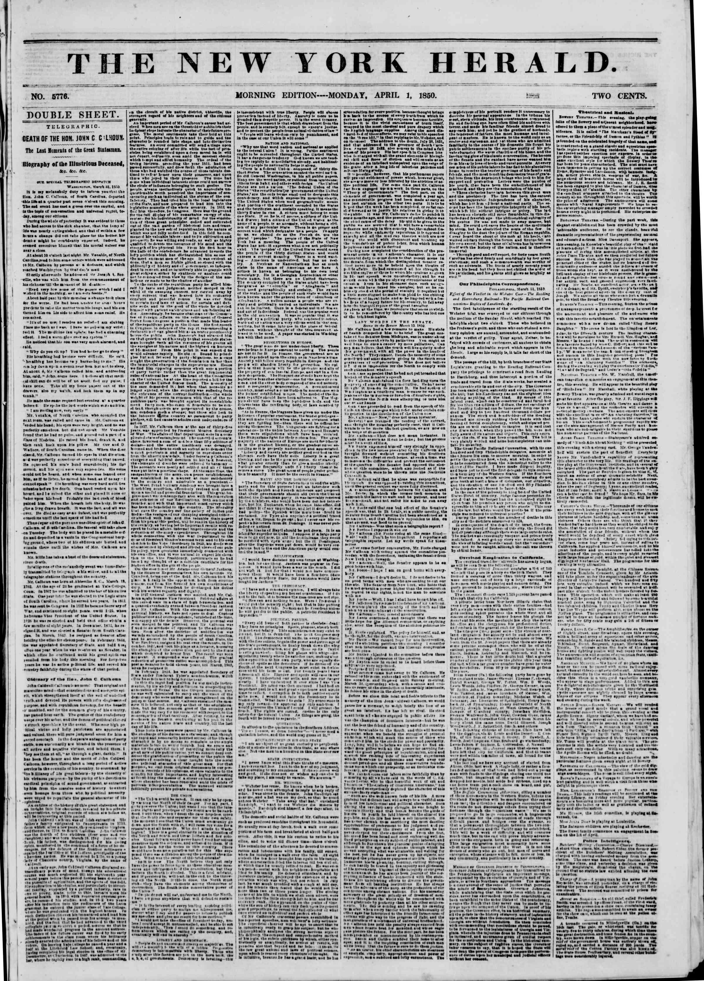 1 Nisan 1850 tarihli The New York Herald Gazetesi Sayfa 1
