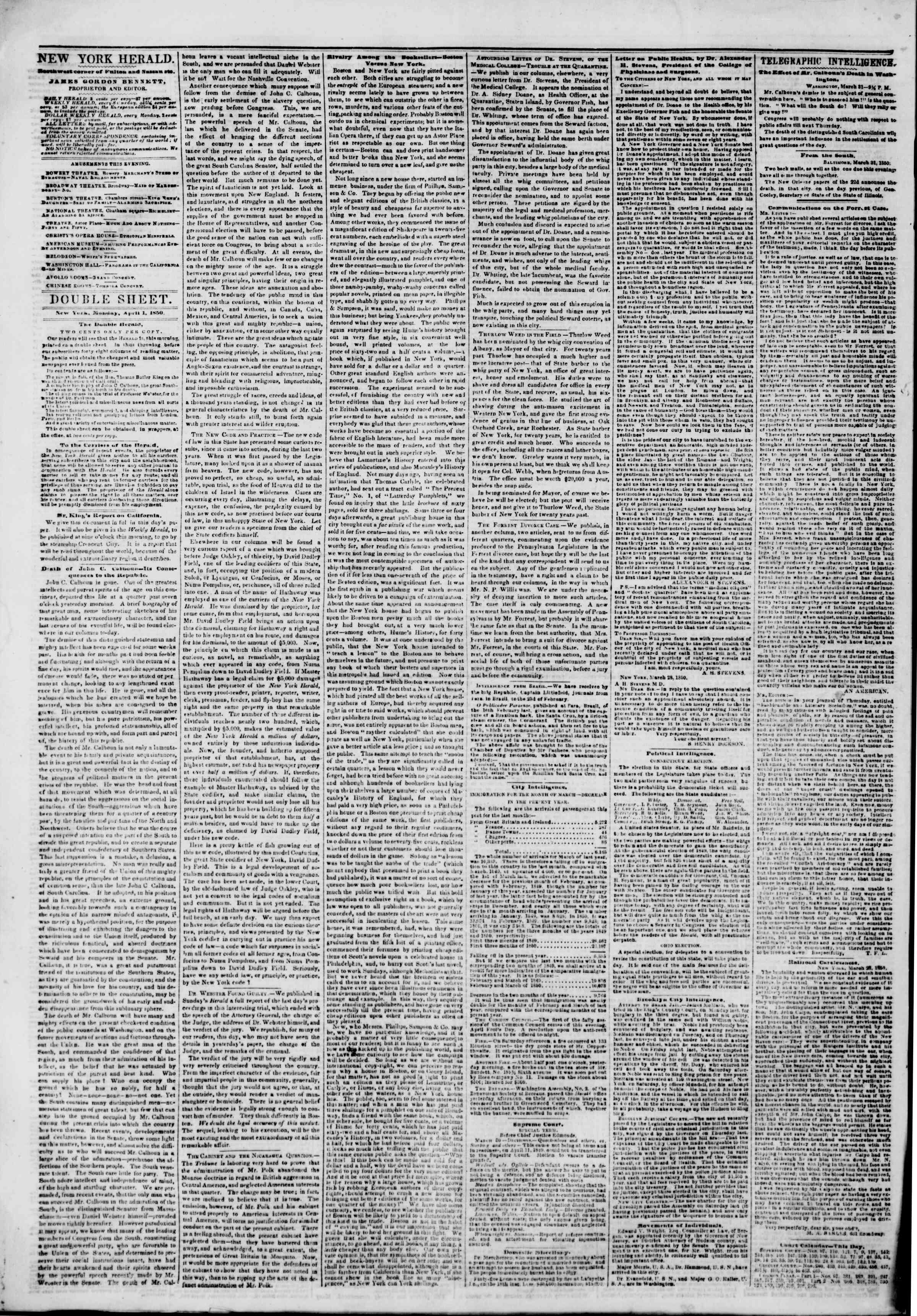 Newspaper of The New York Herald dated April 1, 1850 Page 4
