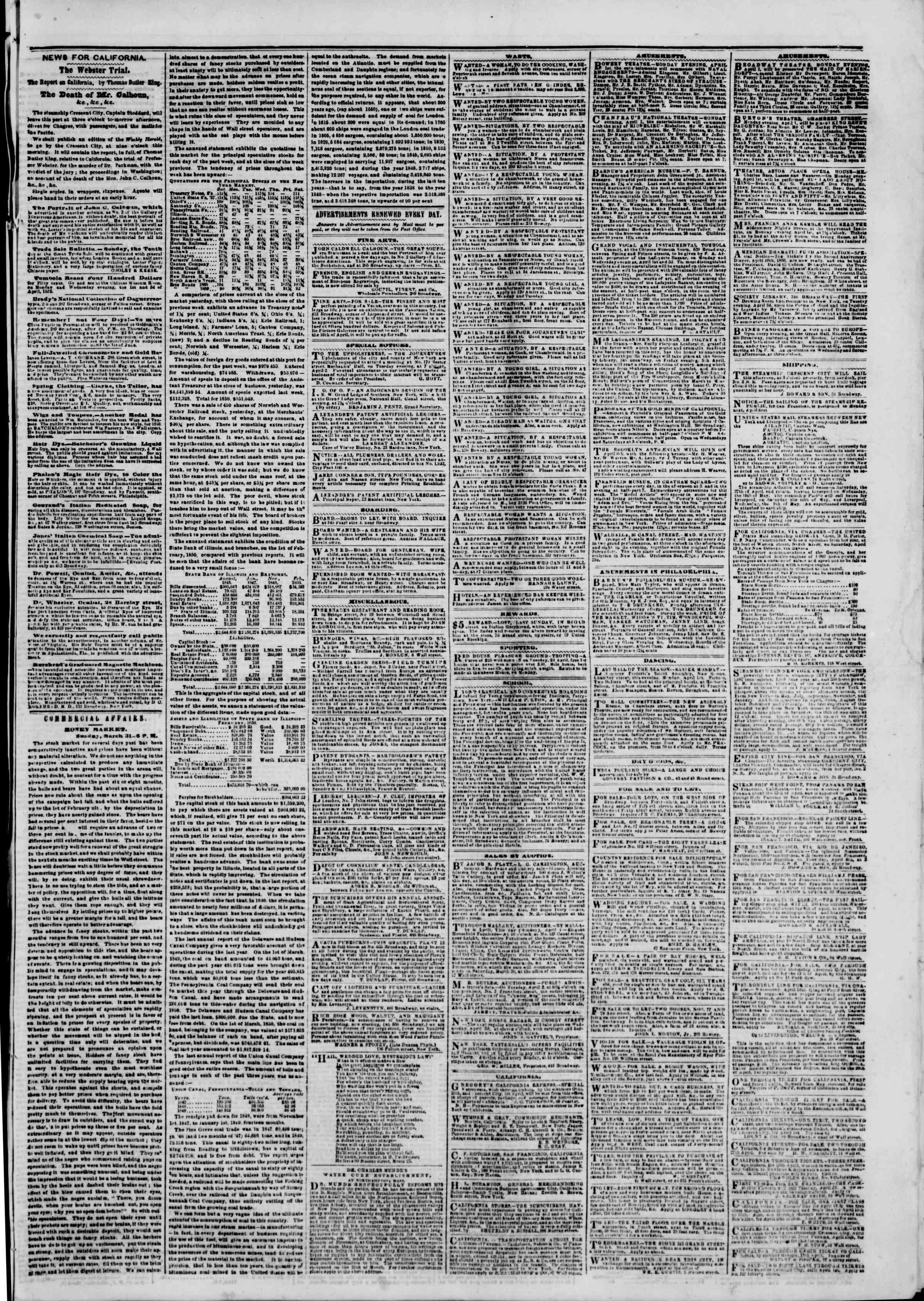 1 Nisan 1850 tarihli The New York Herald Gazetesi Sayfa 5