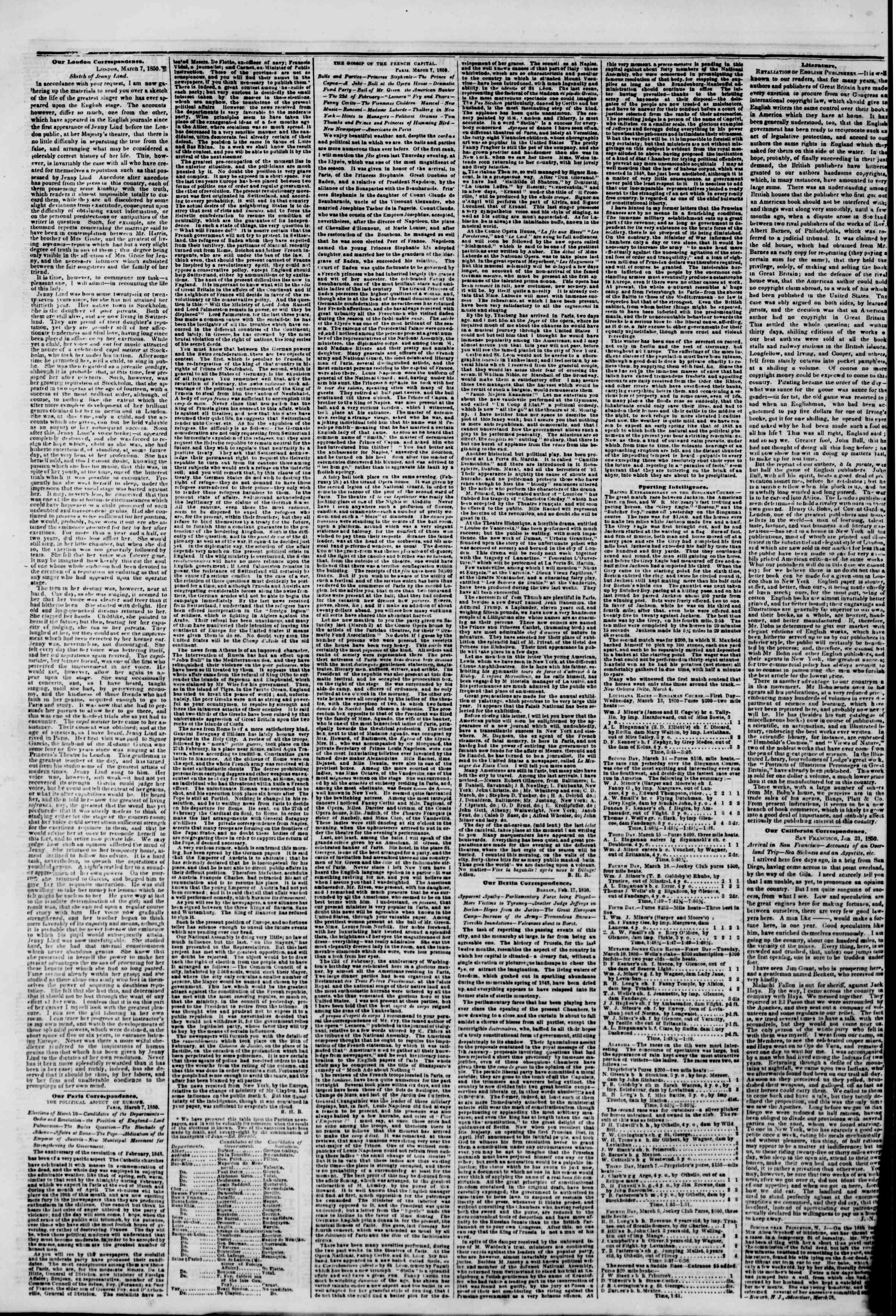 Newspaper of The New York Herald dated April 1, 1850 Page 6