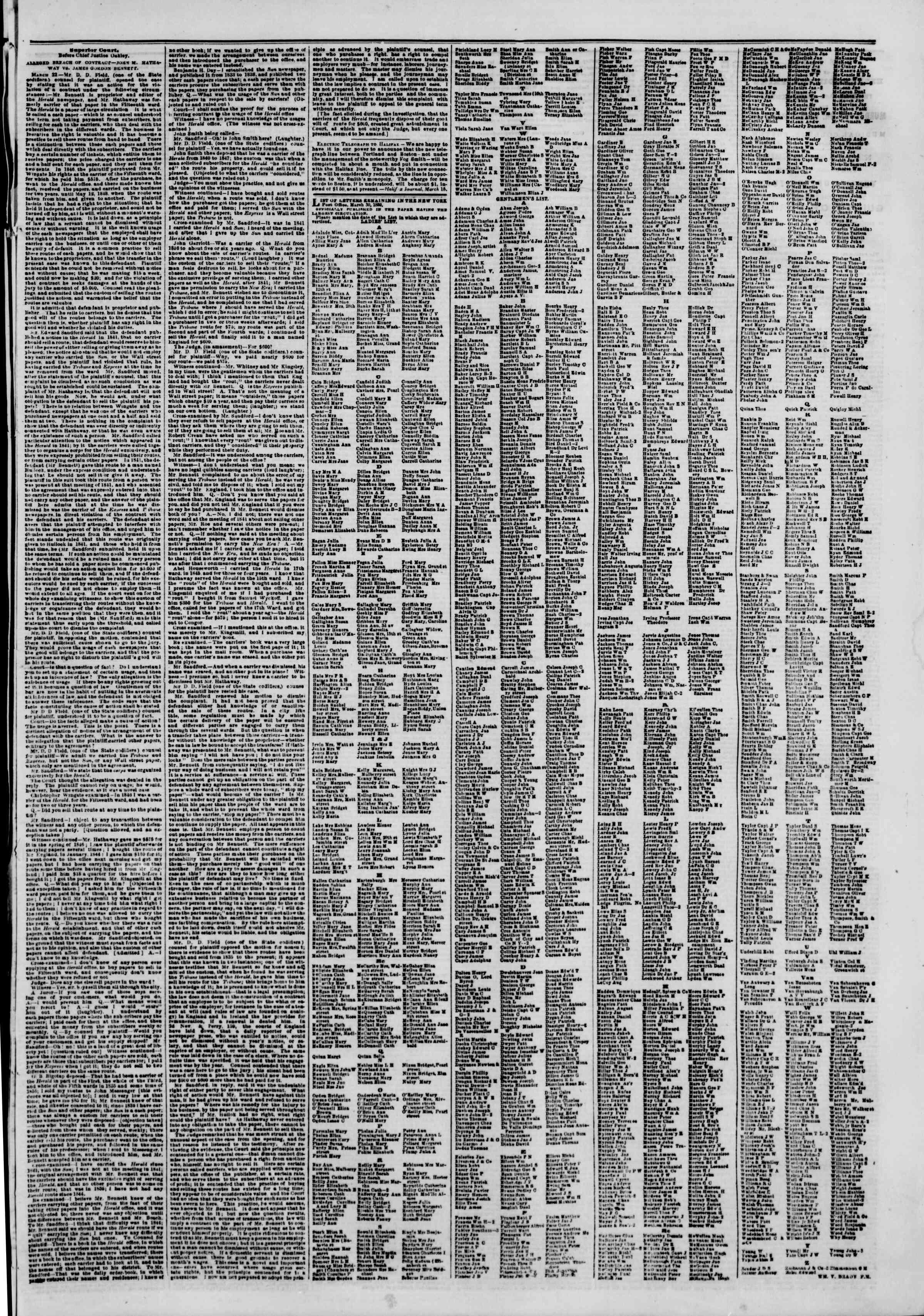 Newspaper of The New York Herald dated April 1, 1850 Page 7