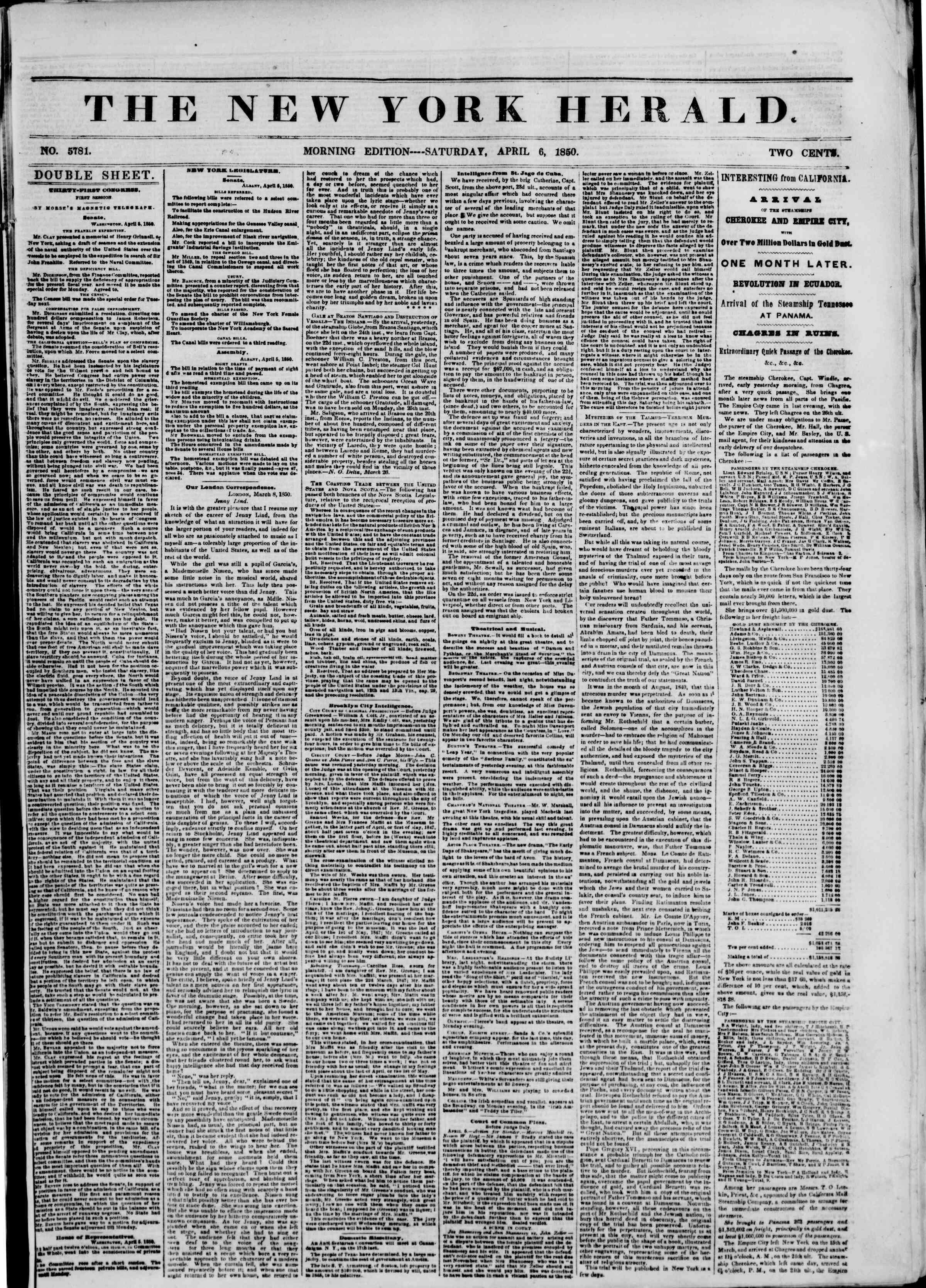 Newspaper of The New York Herald dated April 6, 1850 Page 1