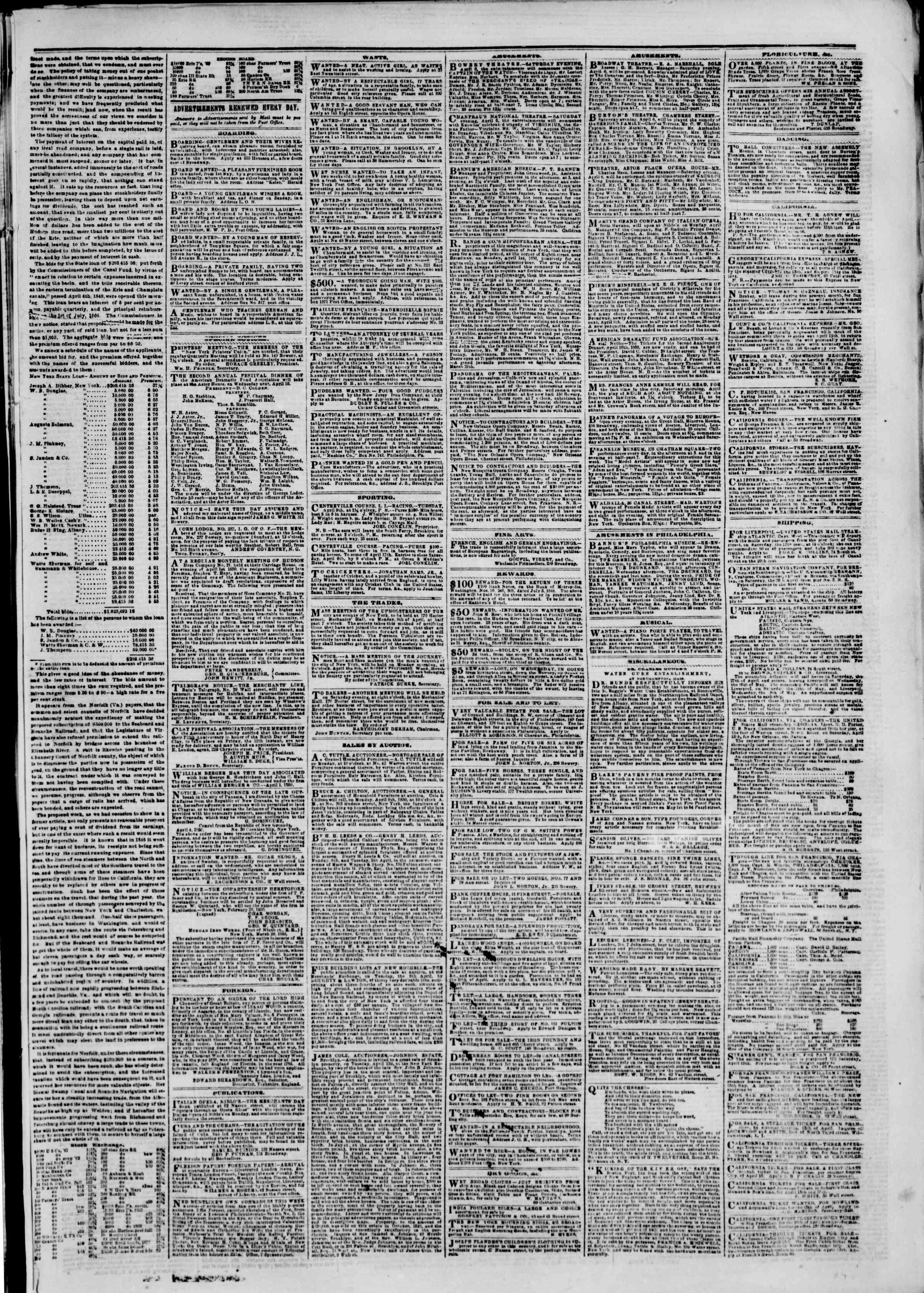 Newspaper of The New York Herald dated April 6, 1850 Page 5