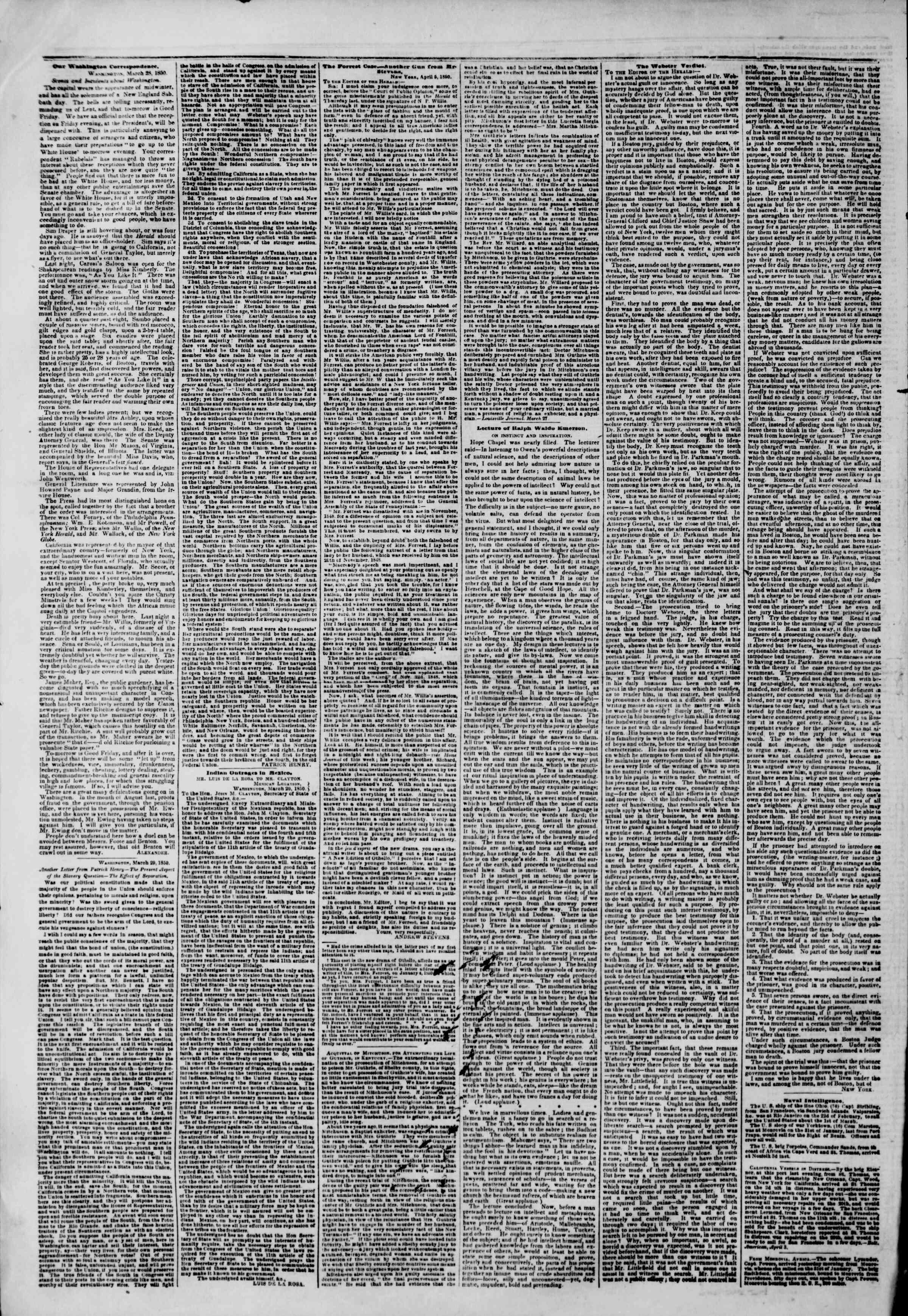 6 Nisan 1850 tarihli The New York Herald Gazetesi Sayfa 6