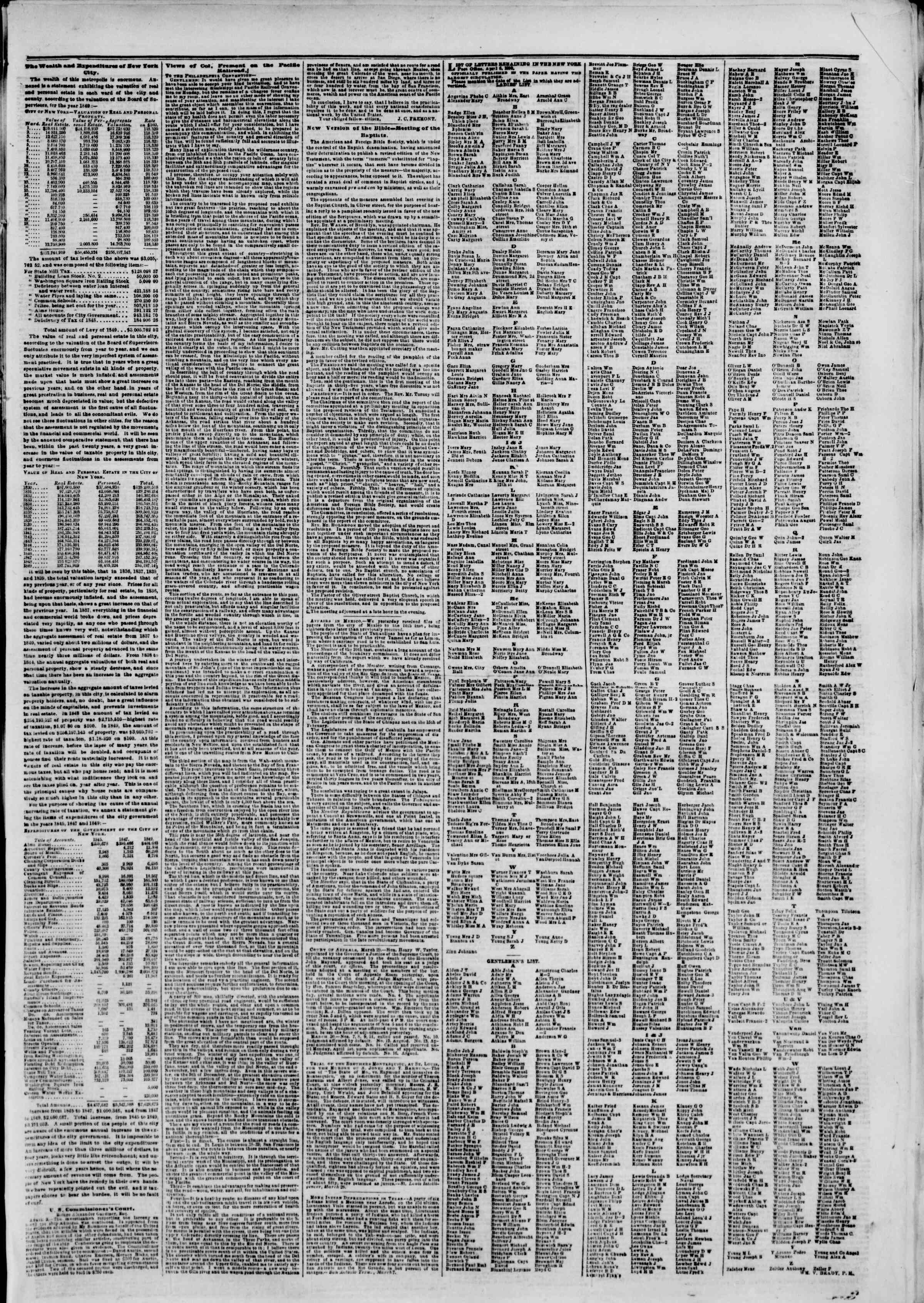 Newspaper of The New York Herald dated April 6, 1850 Page 7