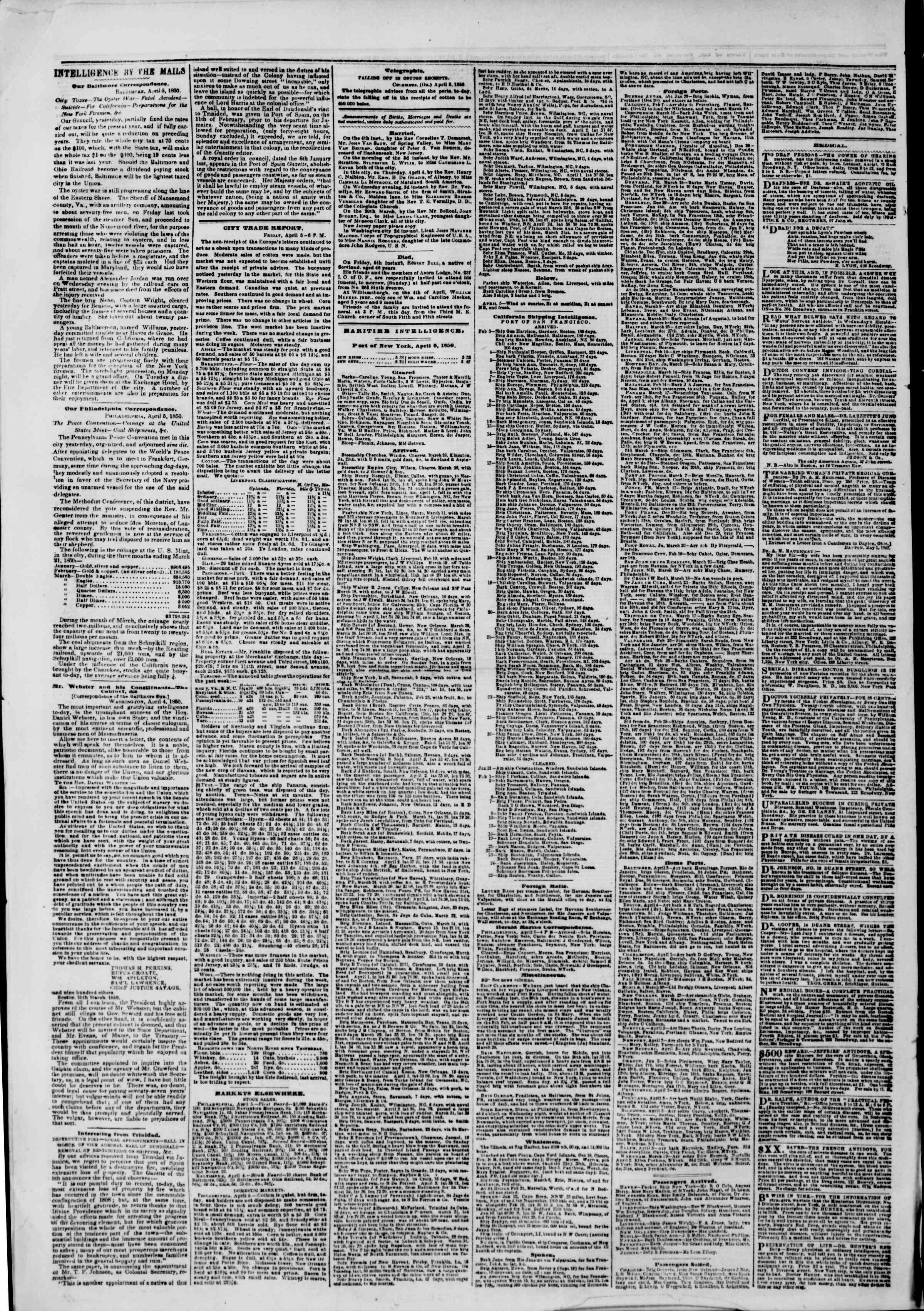 Newspaper of The New York Herald dated April 6, 1850 Page 8