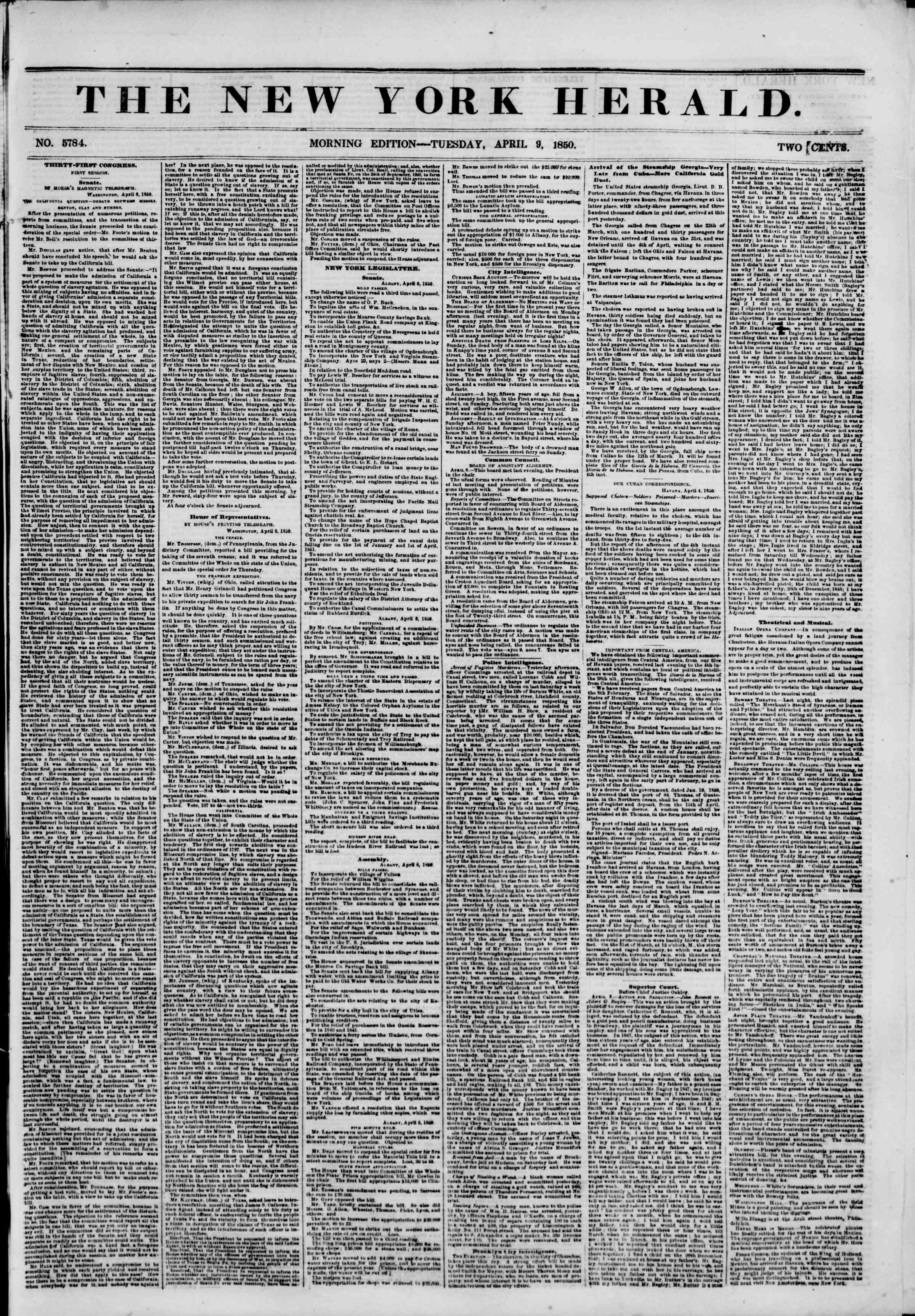 Newspaper of The New York Herald dated April 9, 1850 Page 1