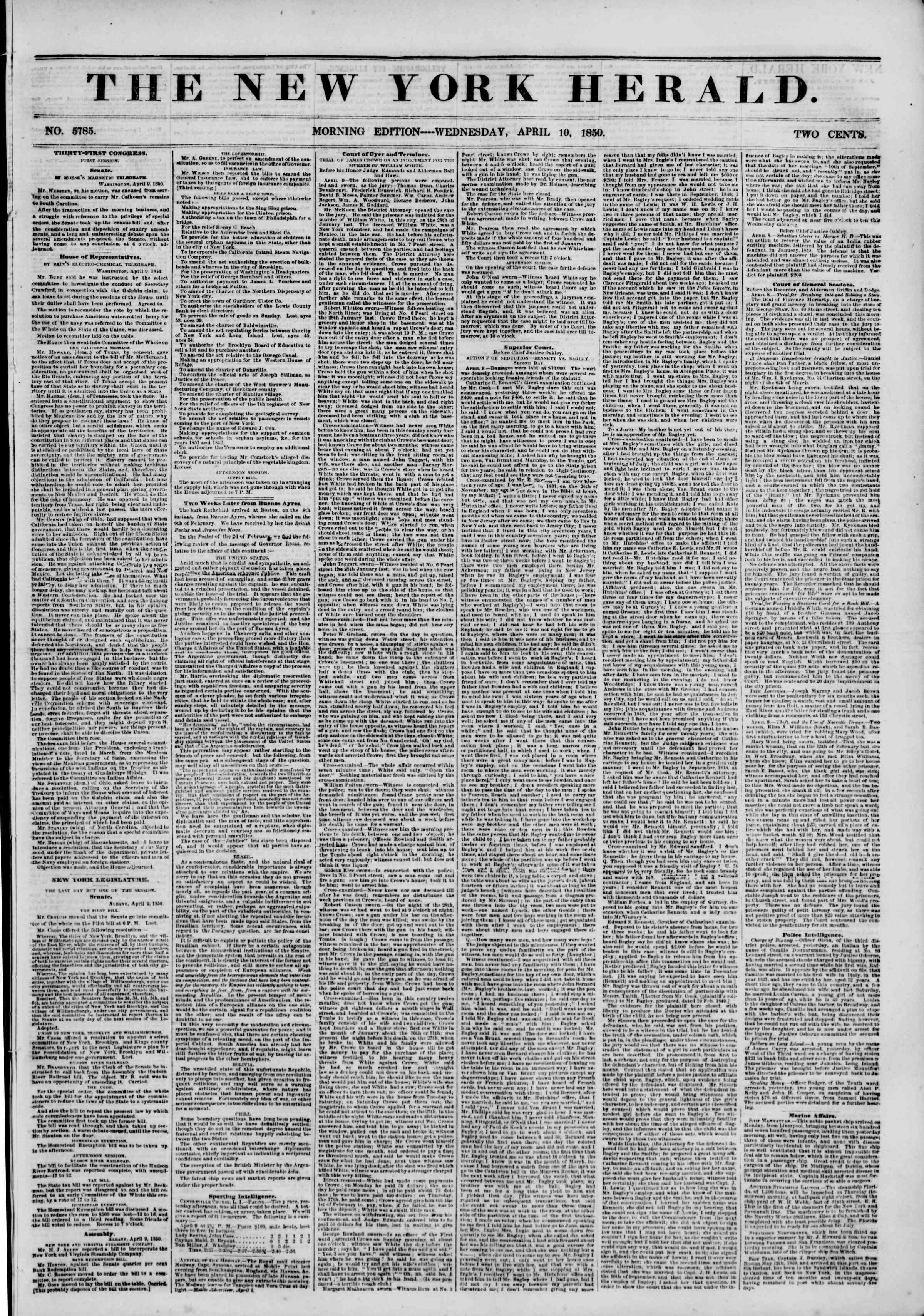 Newspaper of The New York Herald dated April 10, 1850 Page 1