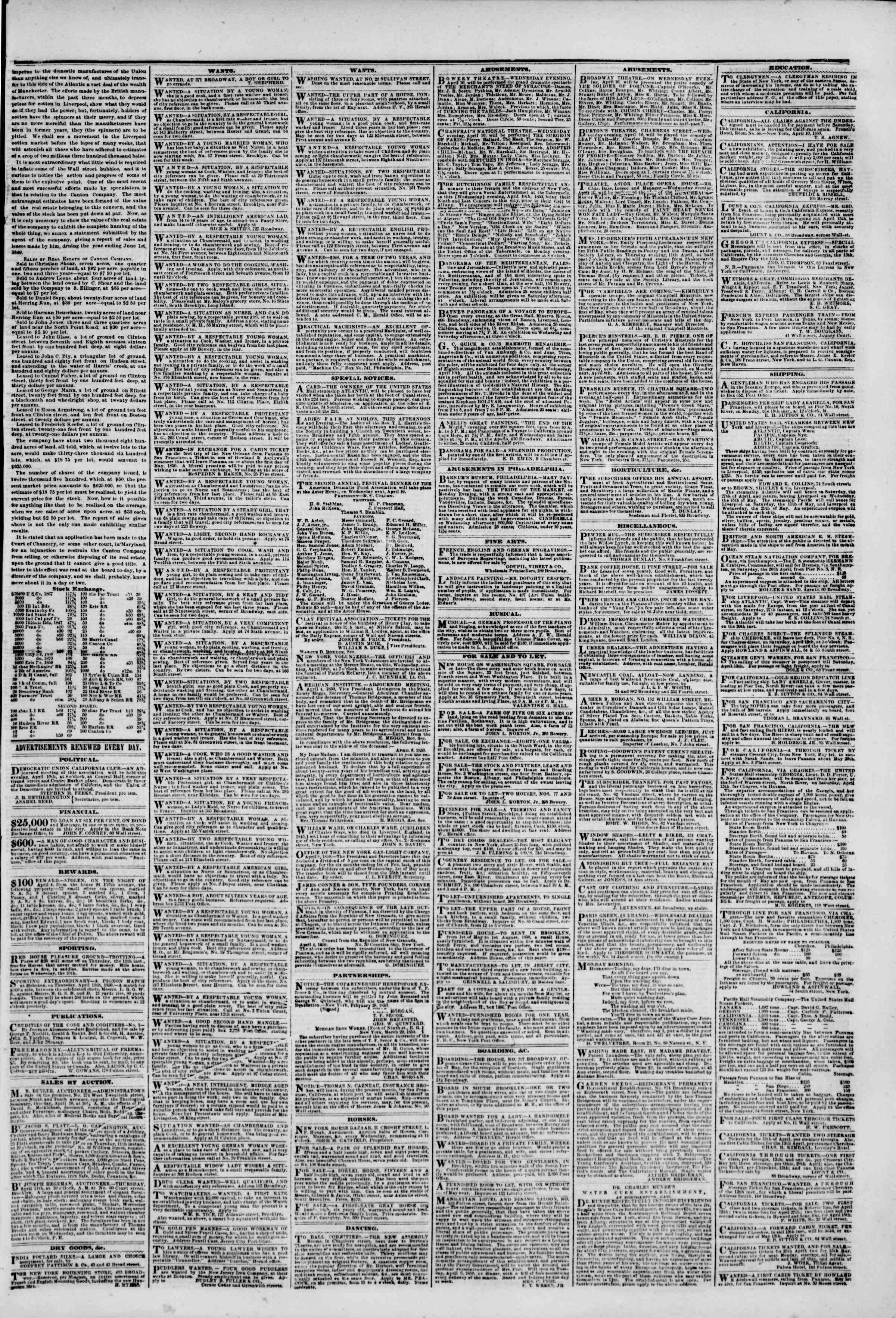 Newspaper of The New York Herald dated April 10, 1850 Page 3
