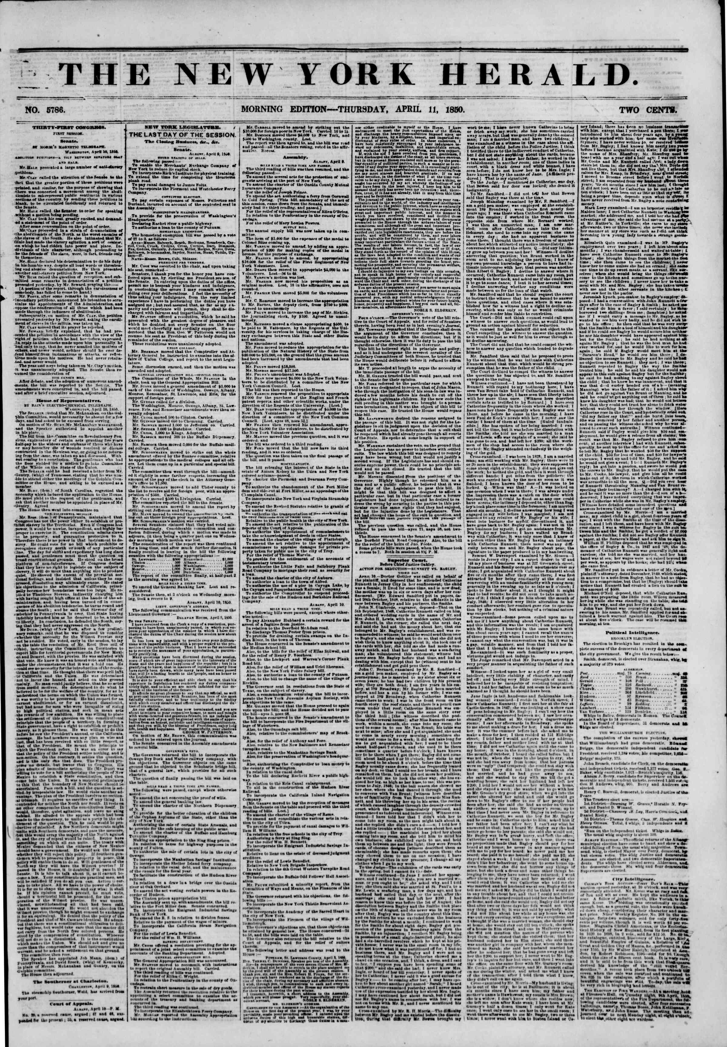 Newspaper of The New York Herald dated April 11, 1850 Page 1