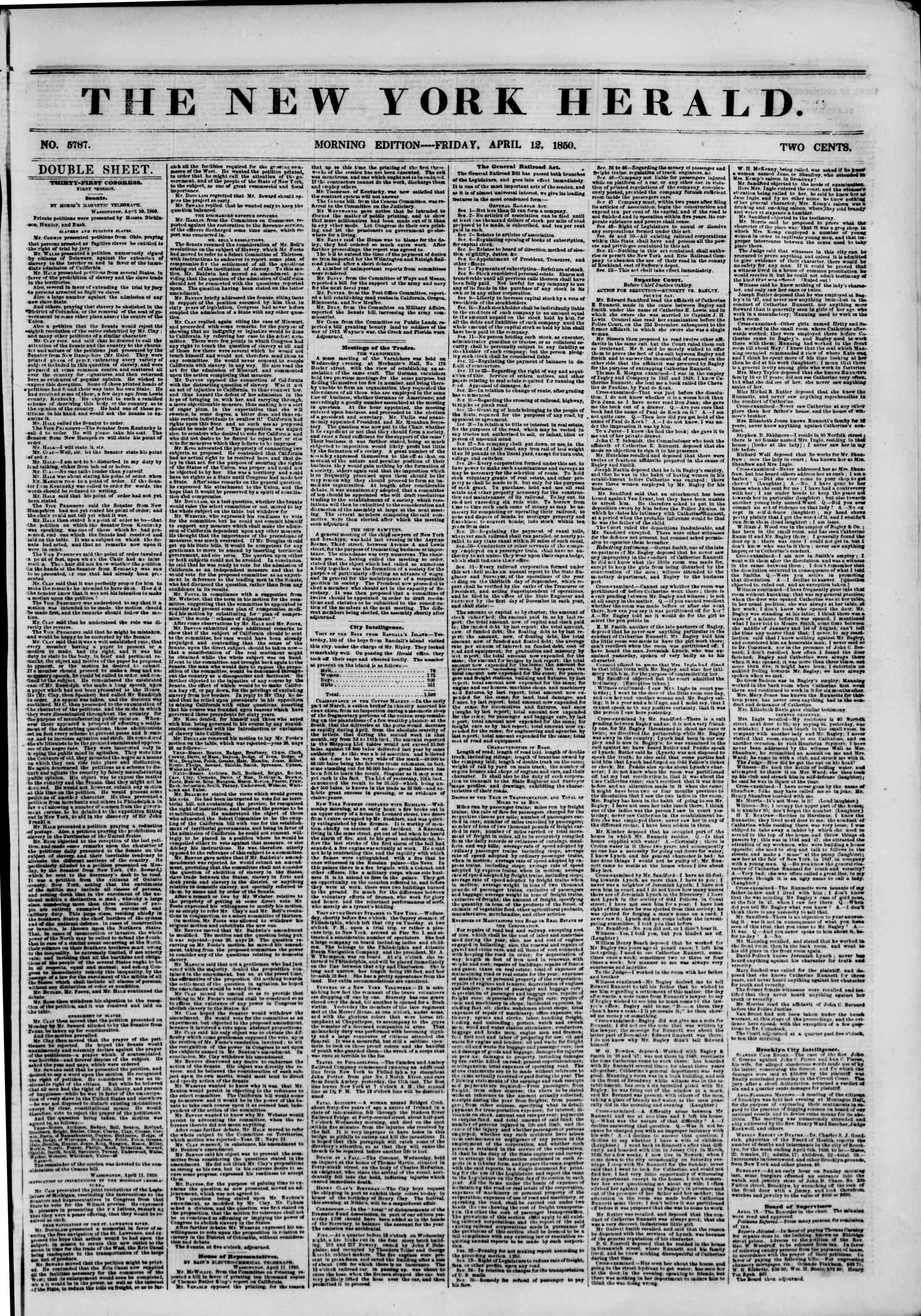 Newspaper of The New York Herald dated April 12, 1850 Page 1