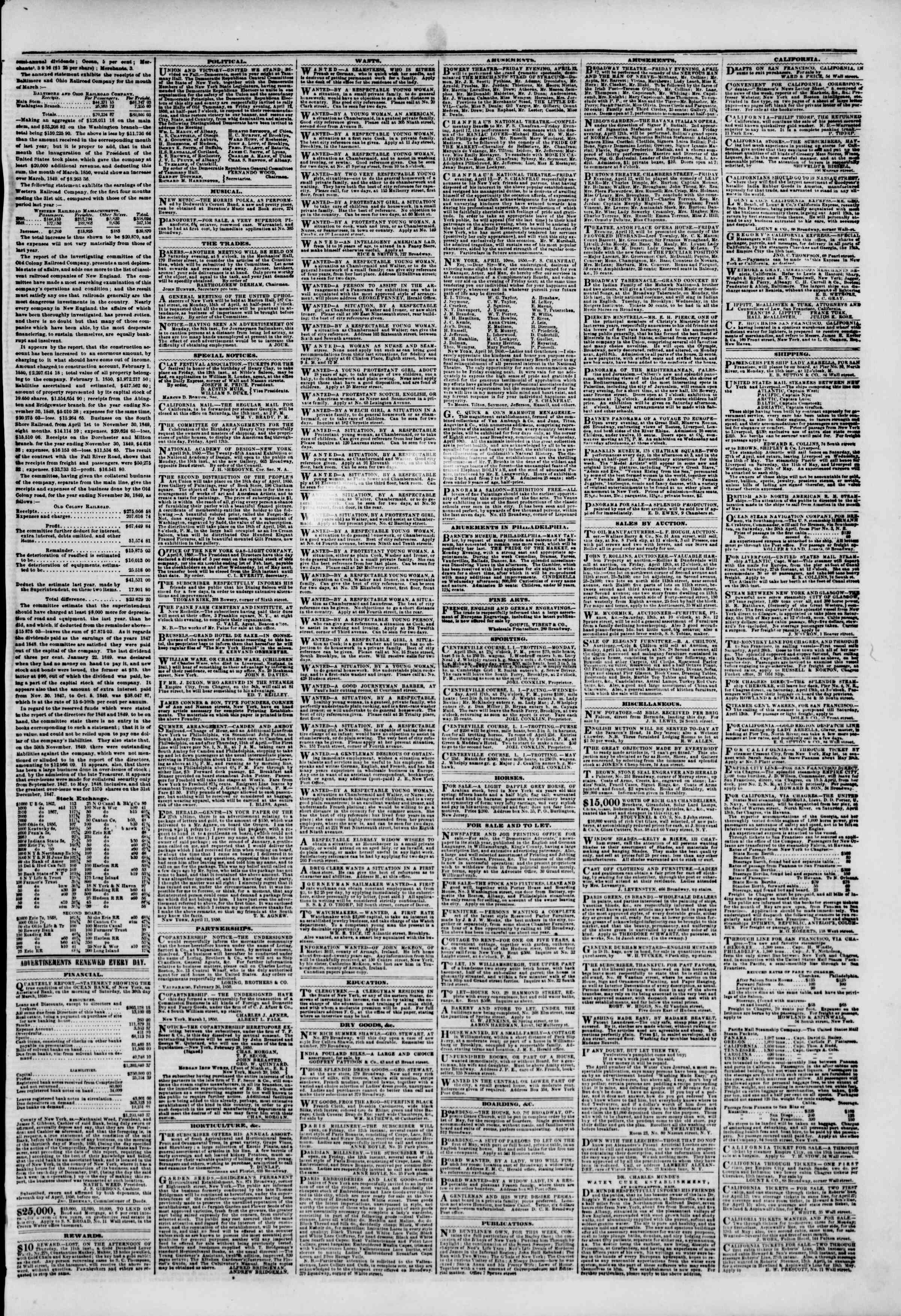 Newspaper of The New York Herald dated April 12, 1850 Page 5