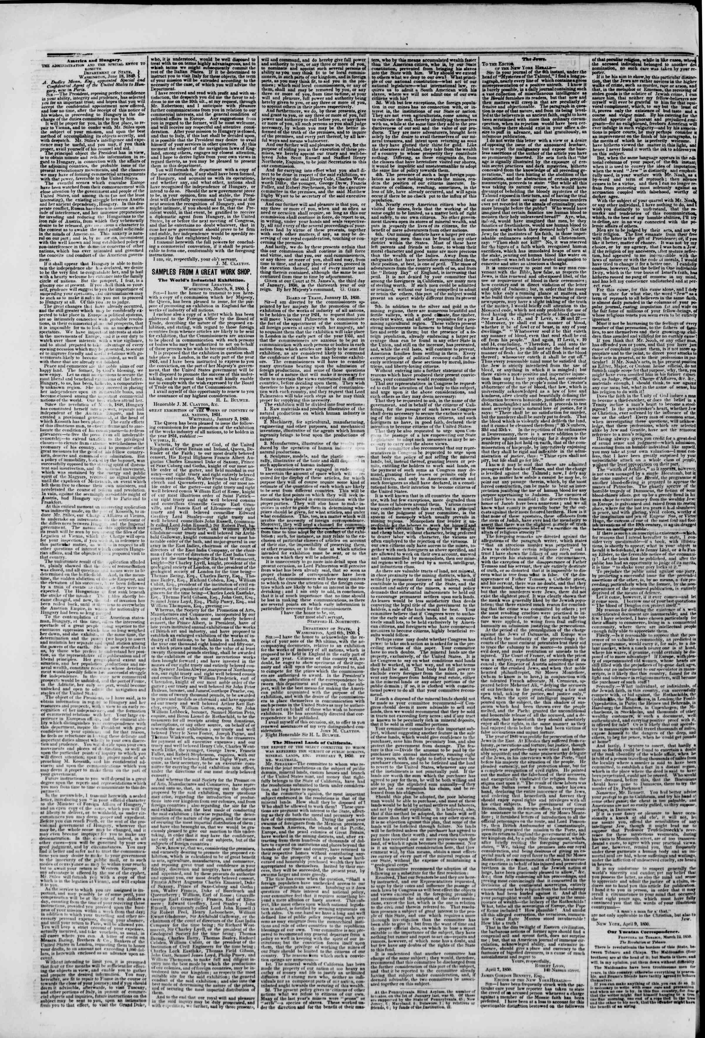 Newspaper of The New York Herald dated April 12, 1850 Page 6