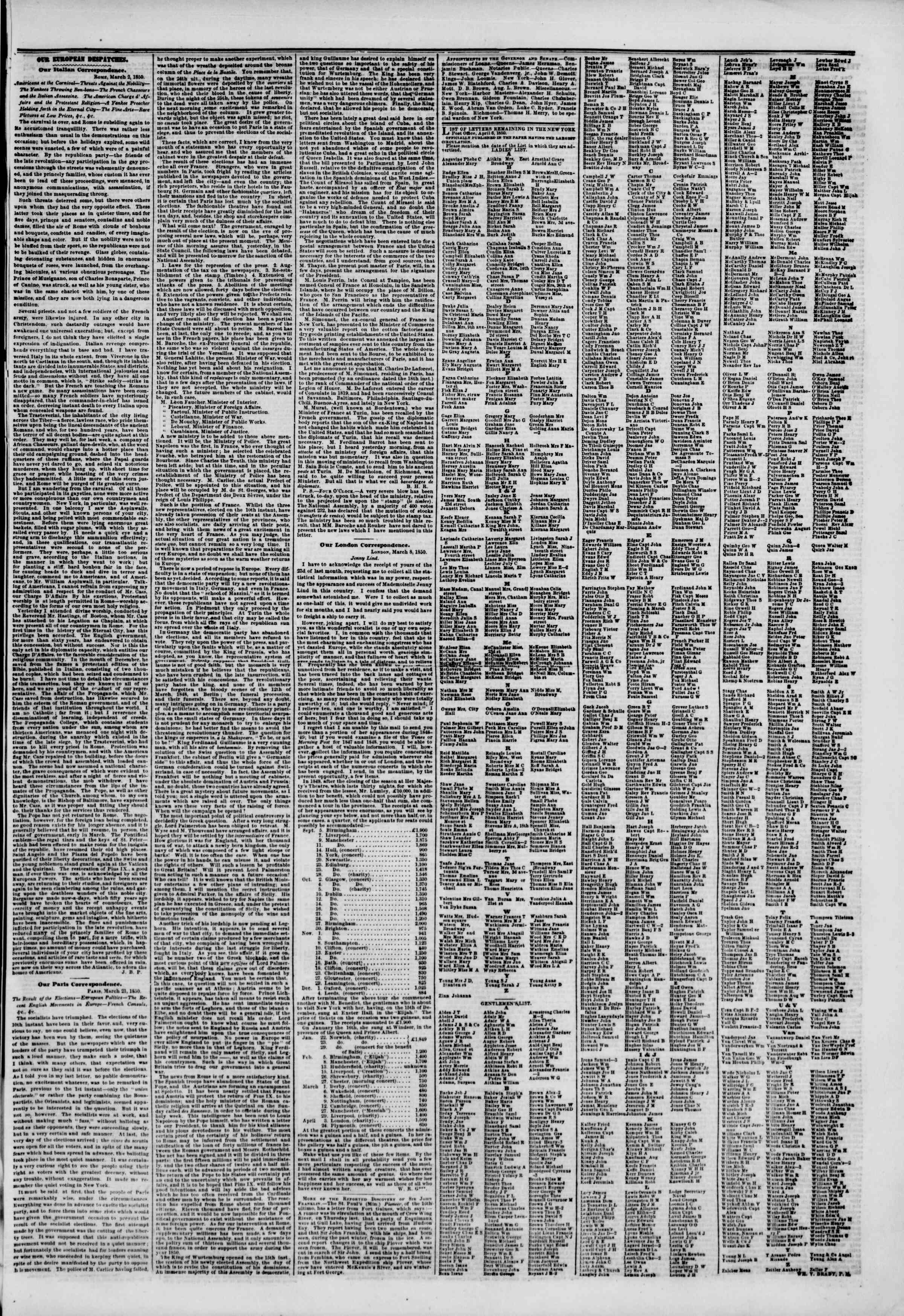 Newspaper of The New York Herald dated April 12, 1850 Page 7