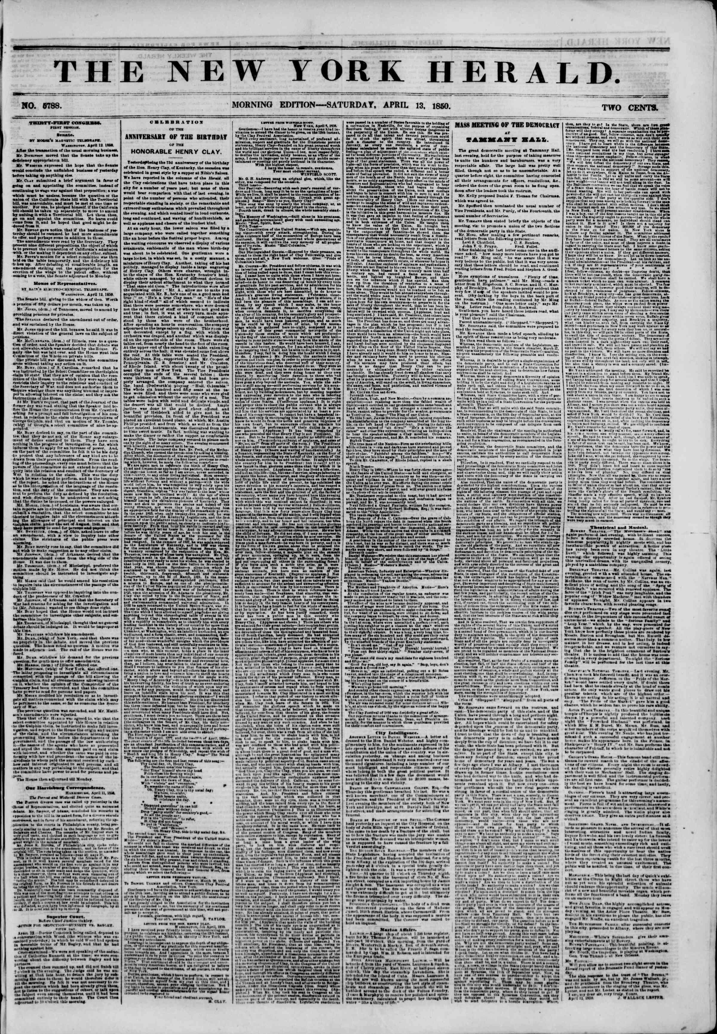 Newspaper of The New York Herald dated April 13, 1850 Page 2