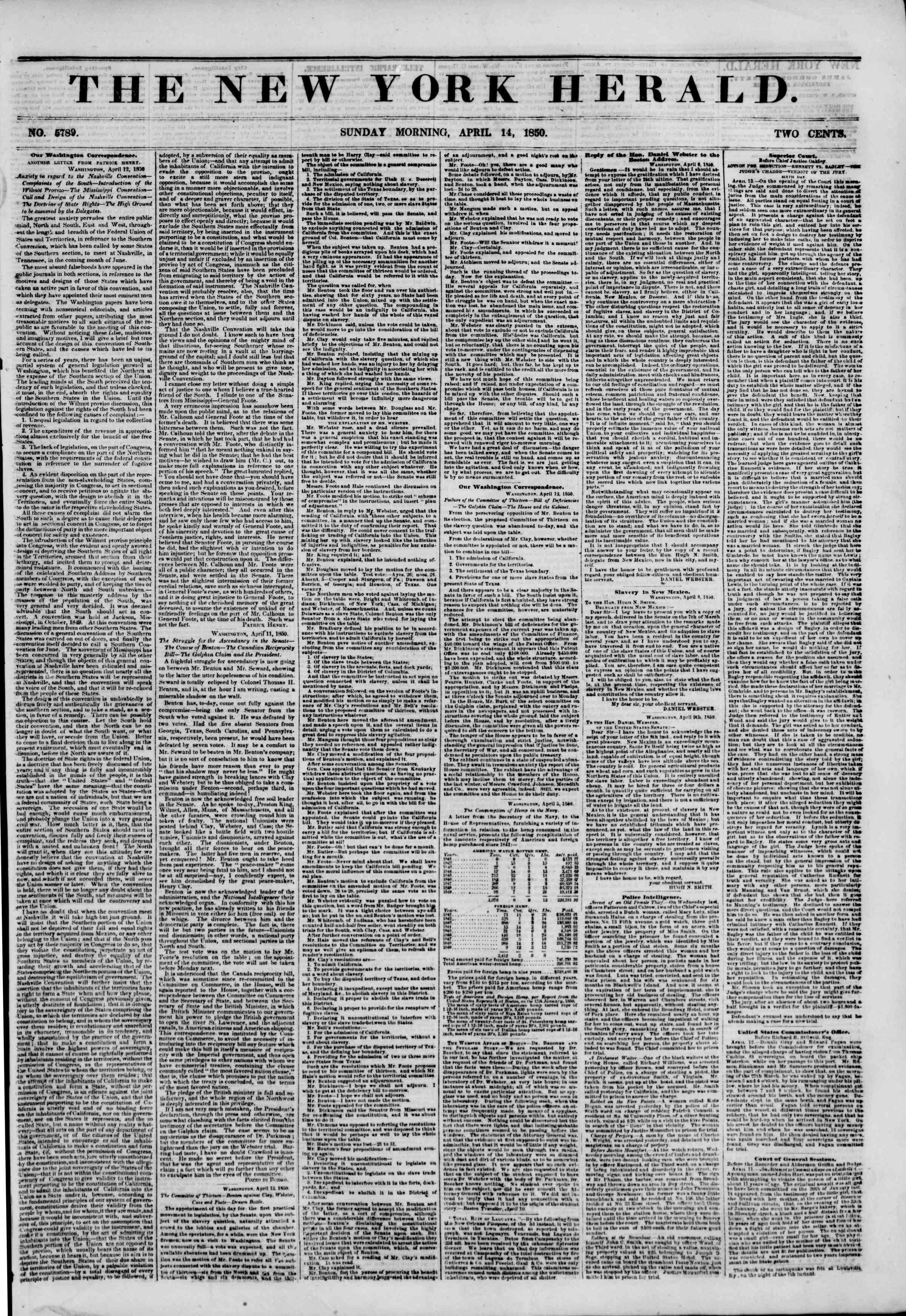 Newspaper of The New York Herald dated April 14, 1850 Page 1
