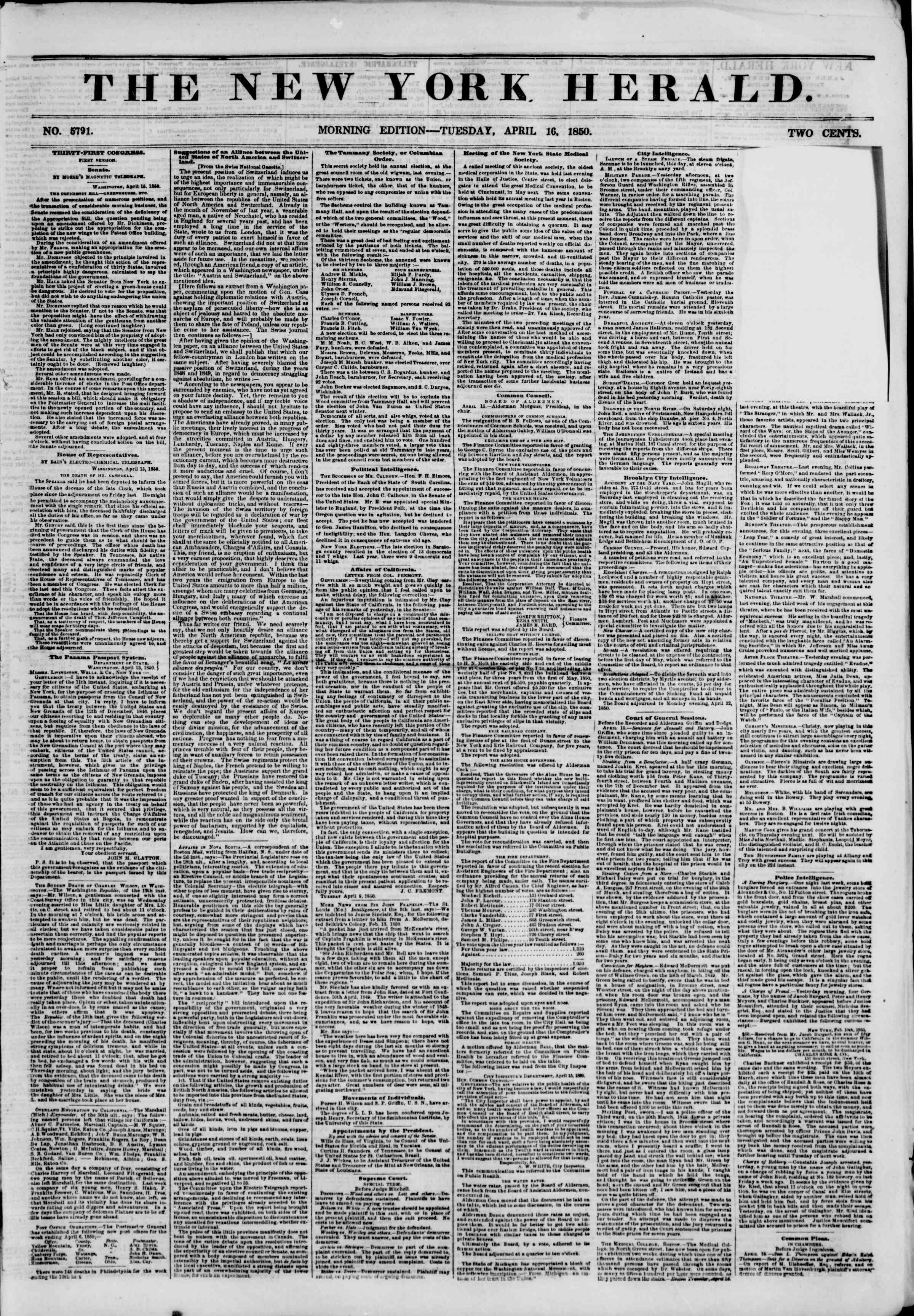 Newspaper of The New York Herald dated 16 Nisan 1850 Page 1