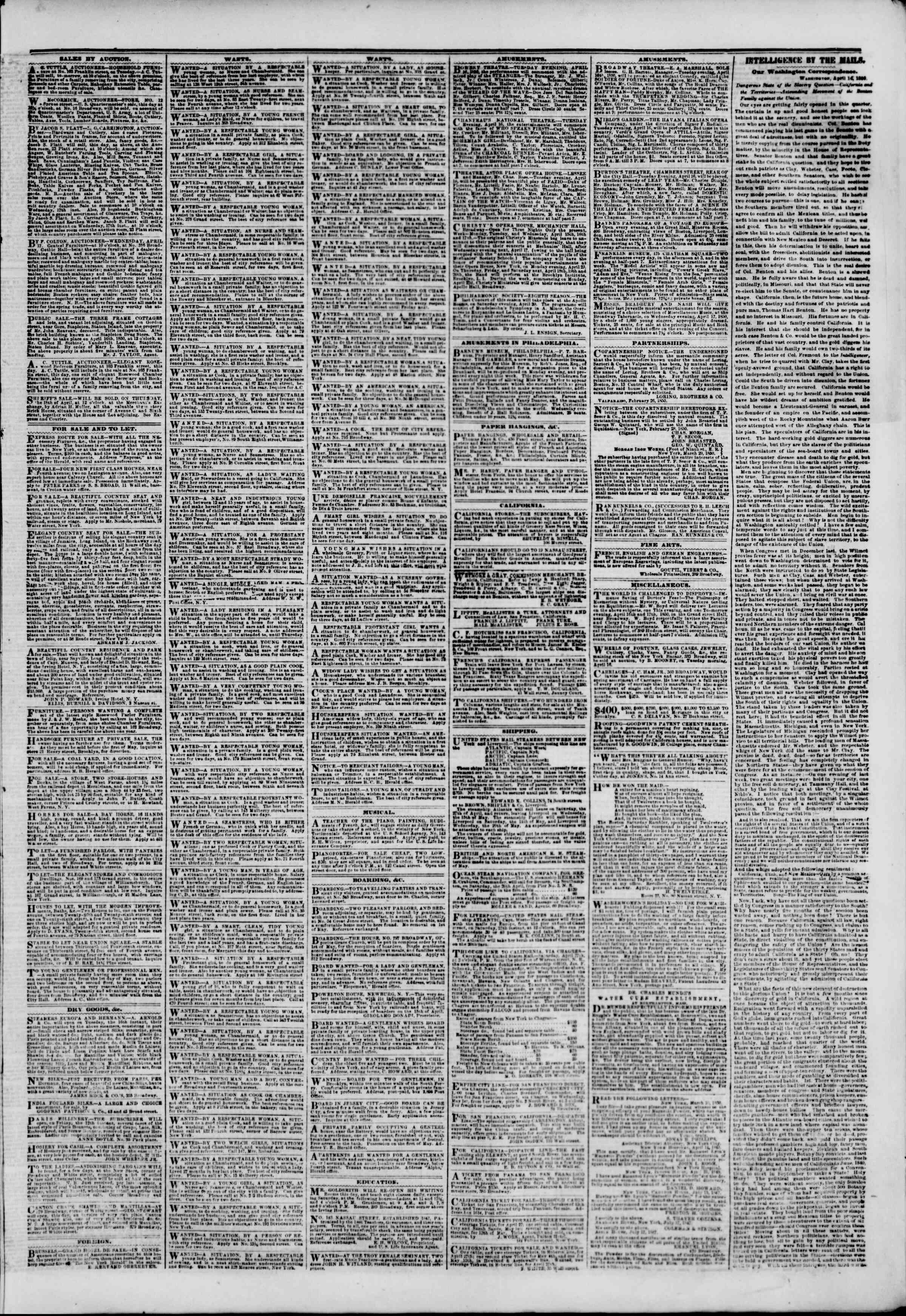 Newspaper of The New York Herald dated April 16, 1850 Page 3