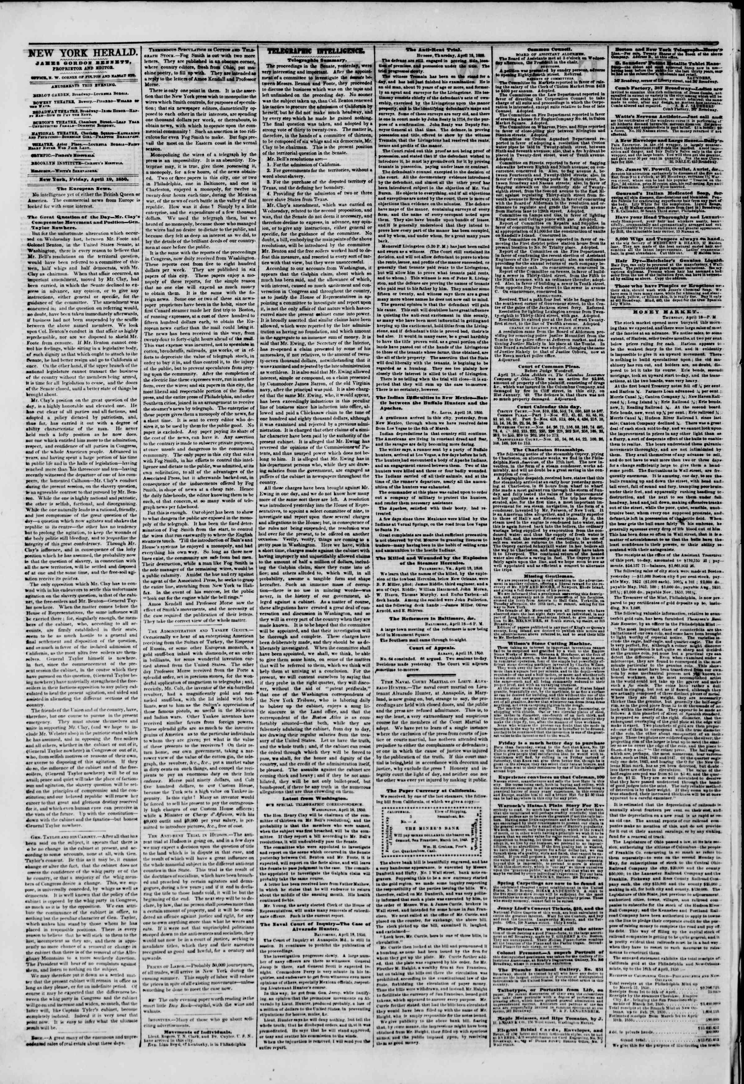 Newspaper of The New York Herald dated April 19, 1850 Page 2