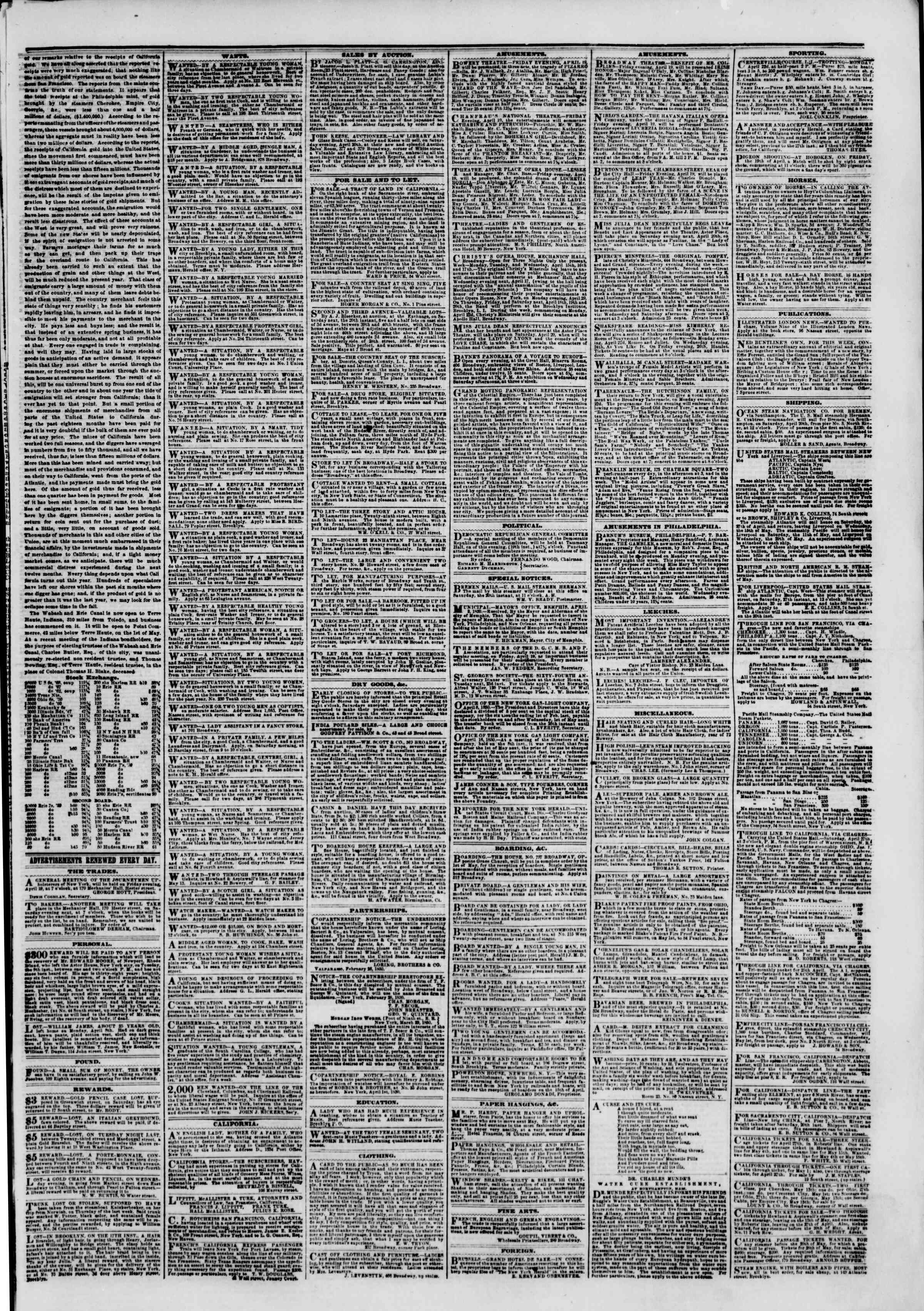 Newspaper of The New York Herald dated April 19, 1850 Page 3