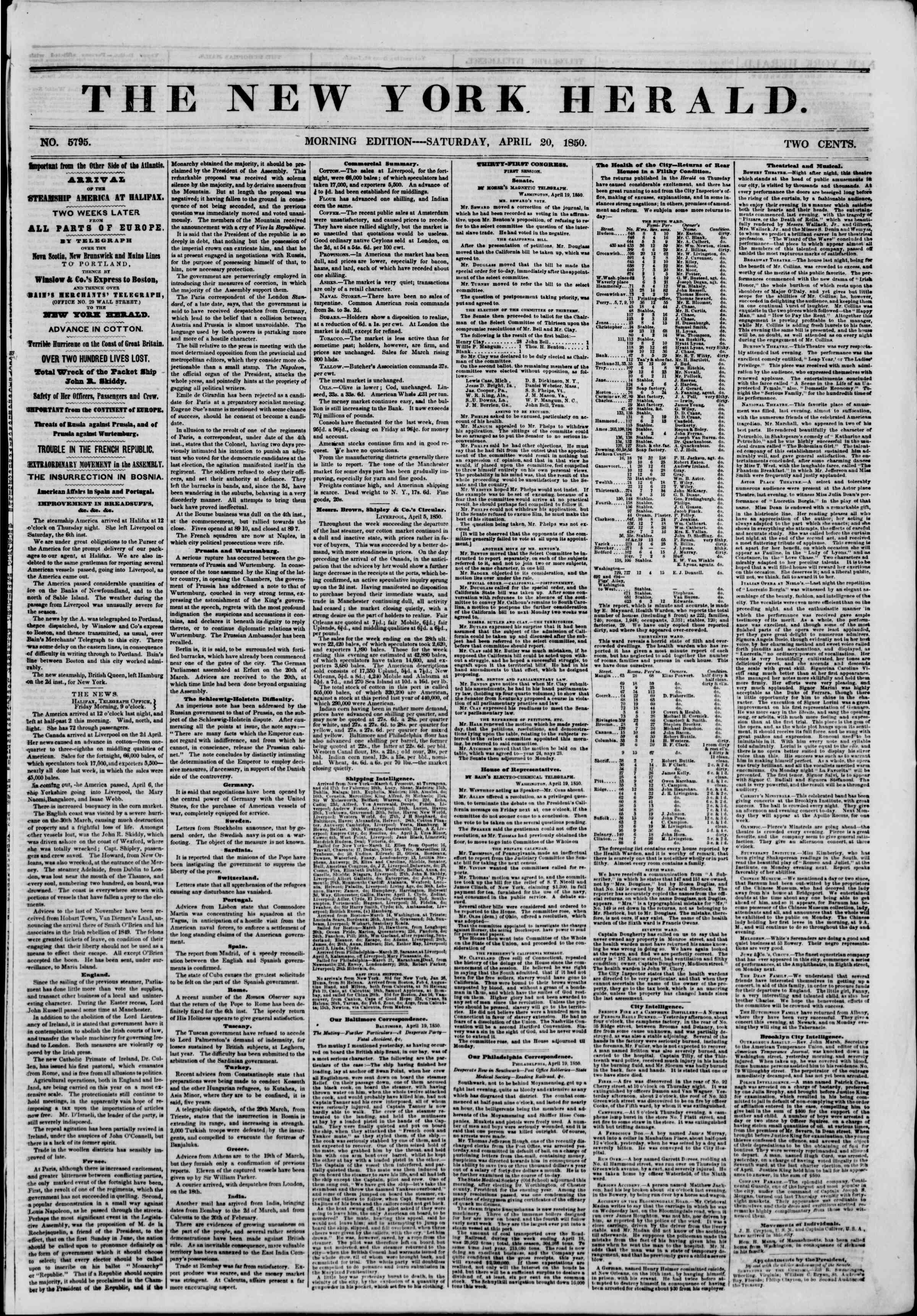 Newspaper of The New York Herald dated April 20, 1850 Page 1