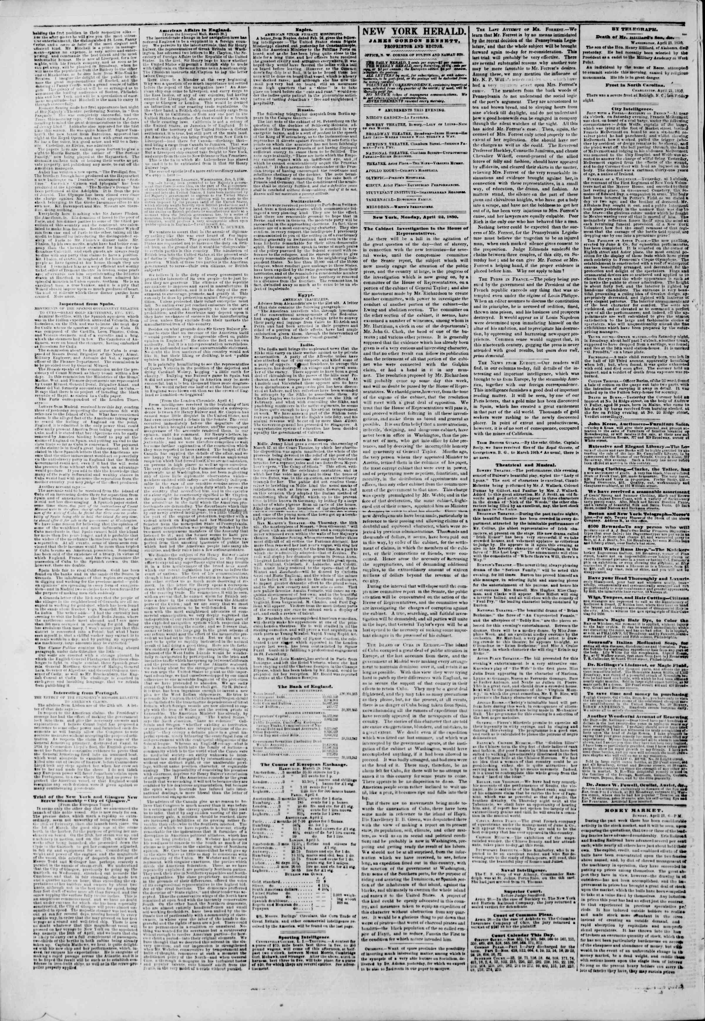 Newspaper of The New York Herald dated April 22, 1850 Page 2