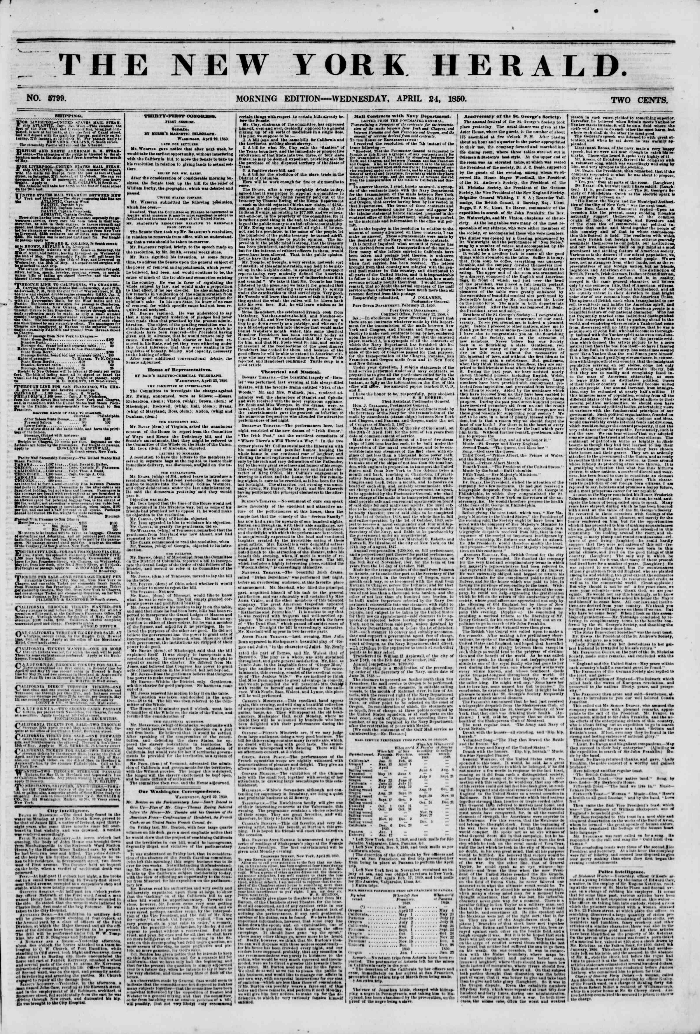 Newspaper of The New York Herald dated April 24, 1850 Page 1