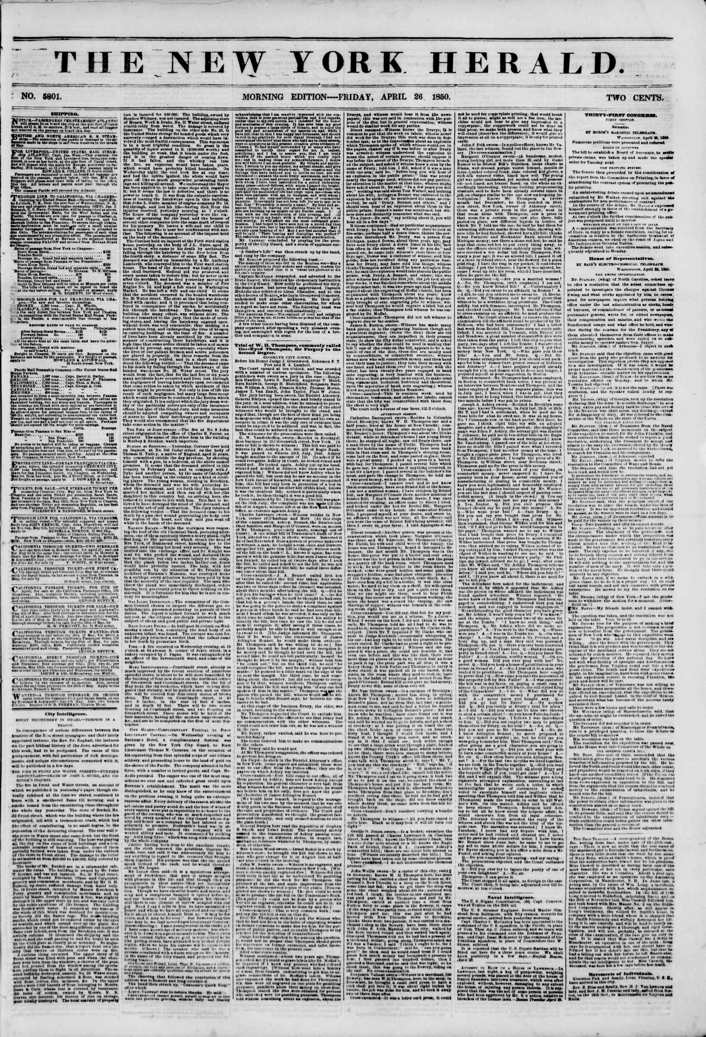 Newspaper of The New York Herald dated April 26, 1850 Page 1