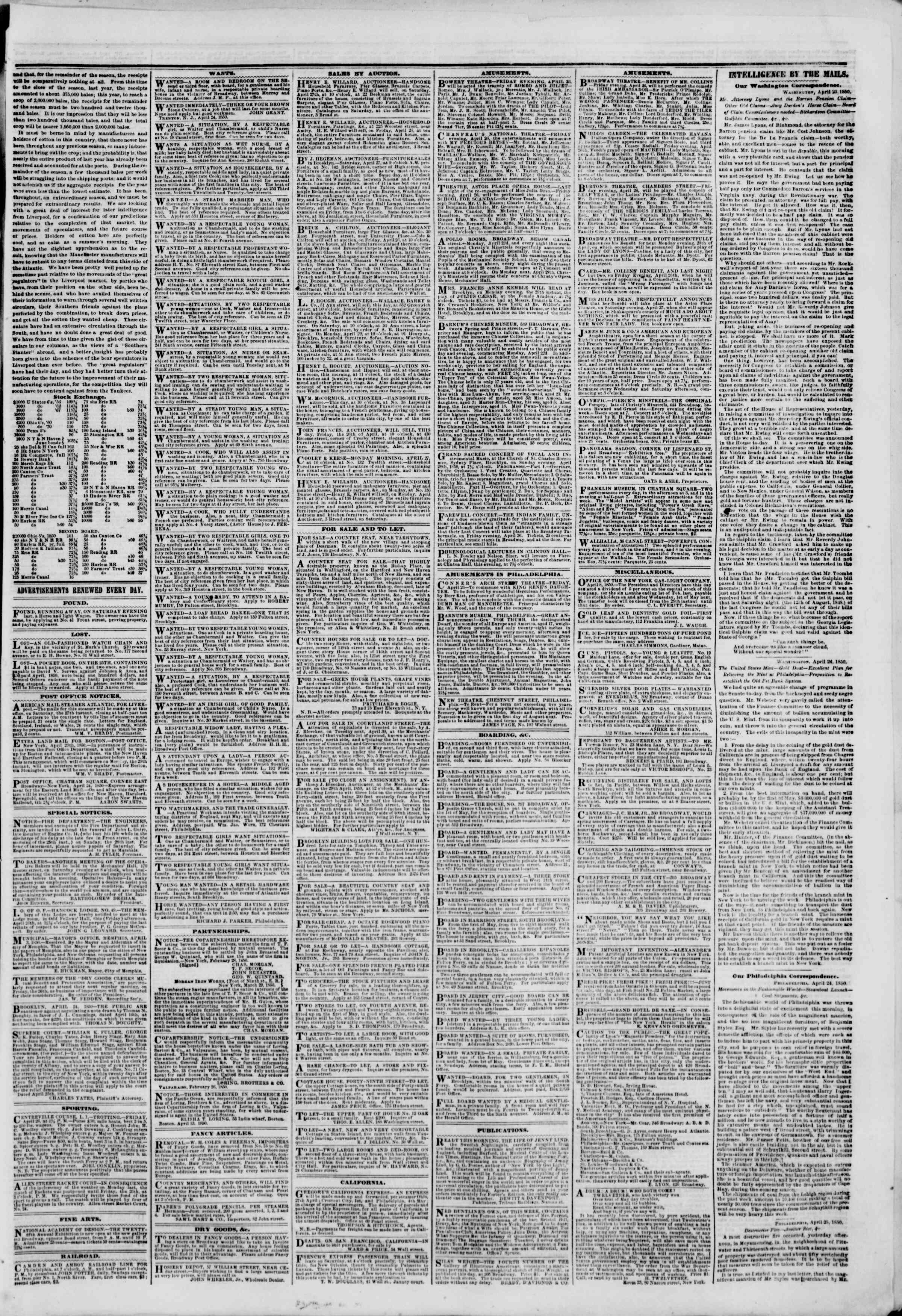 Newspaper of The New York Herald dated April 26, 1850 Page 3