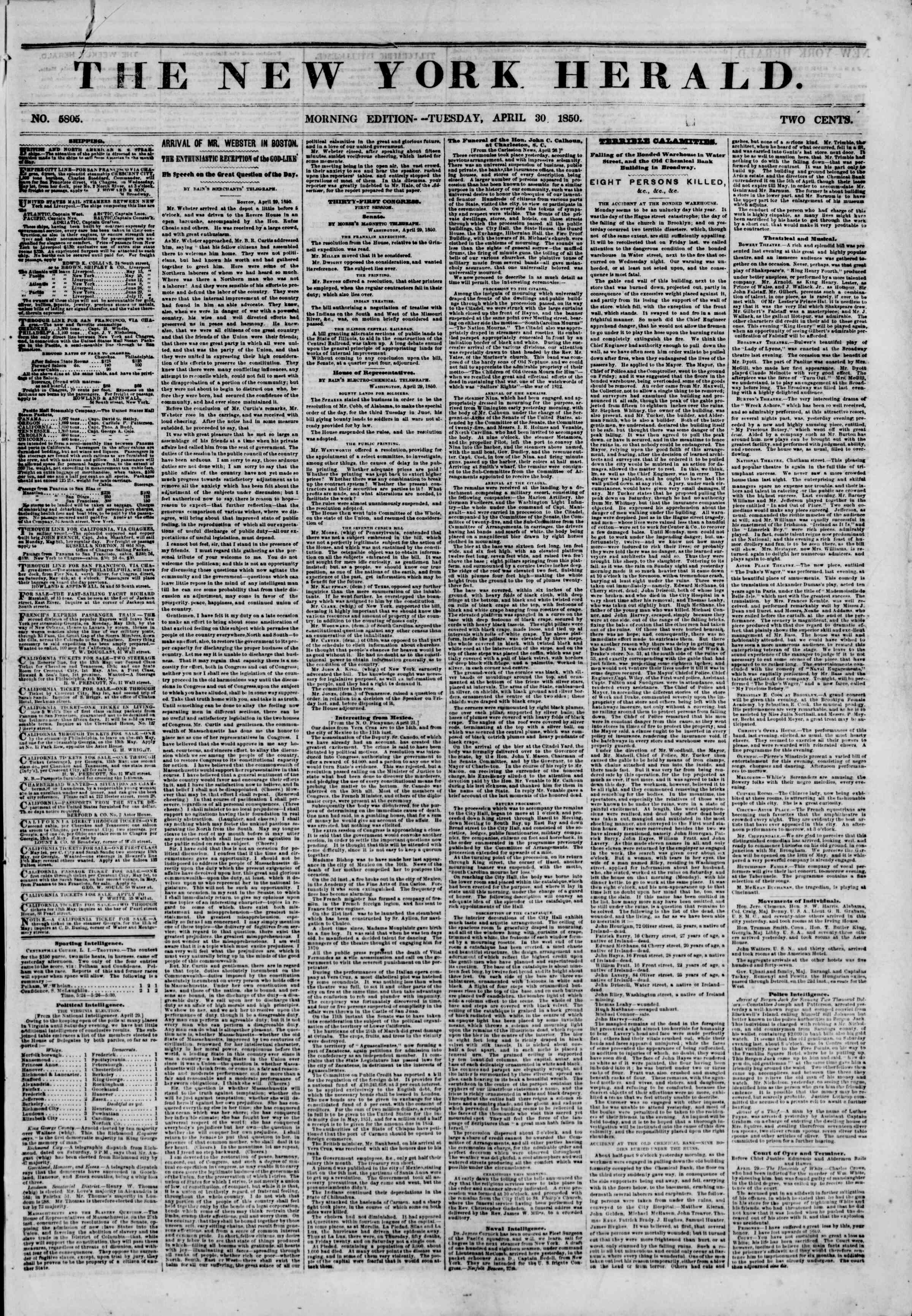 Newspaper of The New York Herald dated April 30, 1850 Page 1