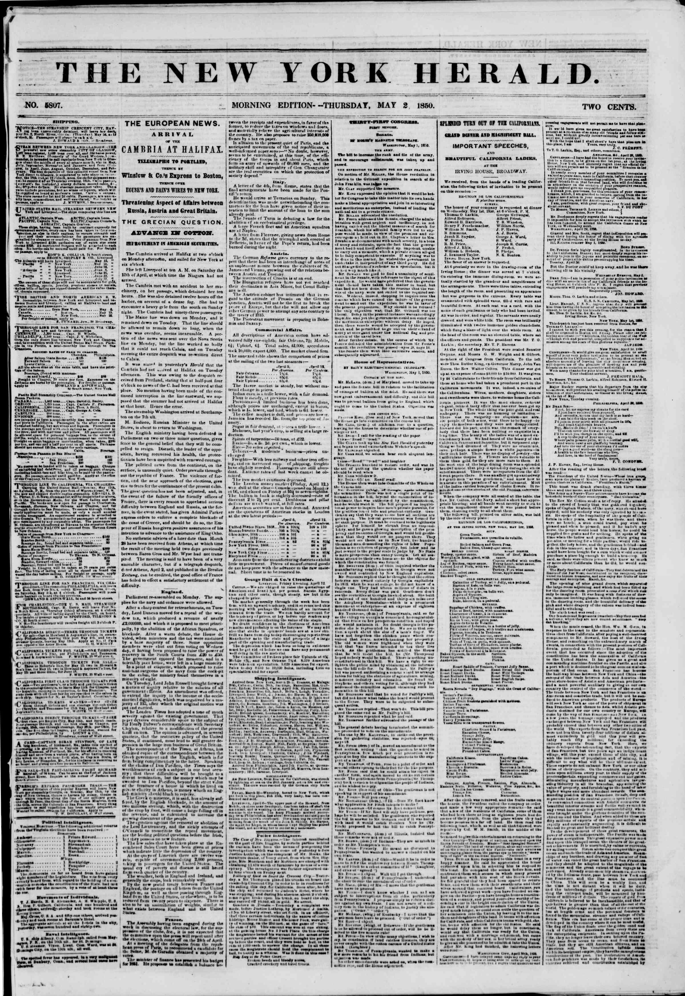 Newspaper of The New York Herald dated May 2, 1850 Page 1