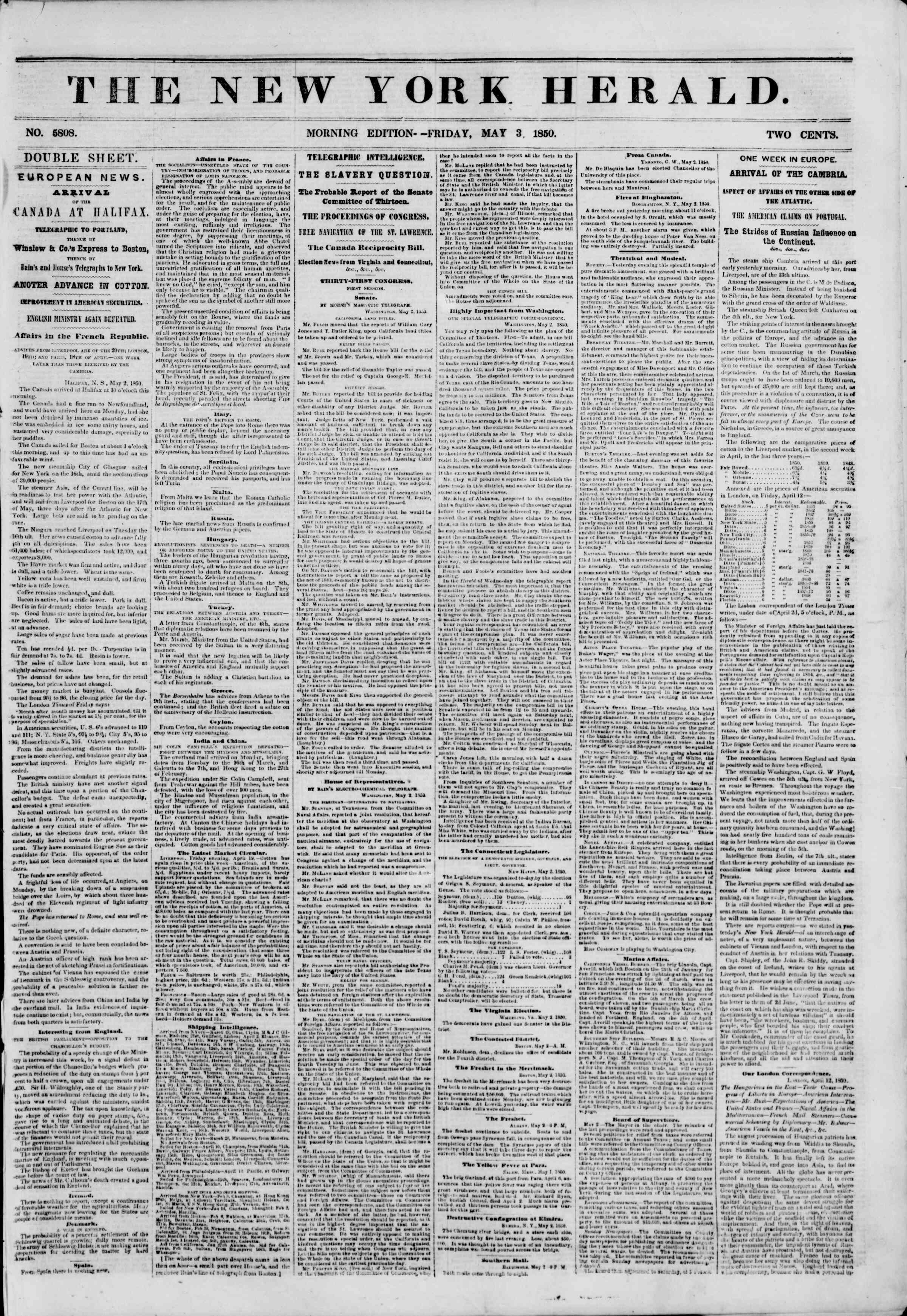 Newspaper of The New York Herald dated May 3, 1850 Page 1