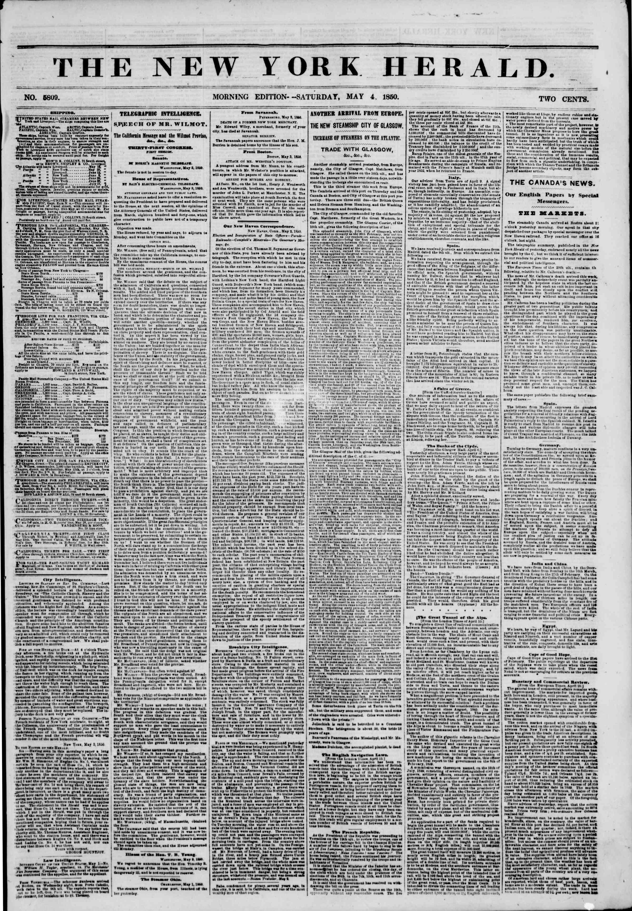 Newspaper of The New York Herald dated May 4, 1850 Page 1