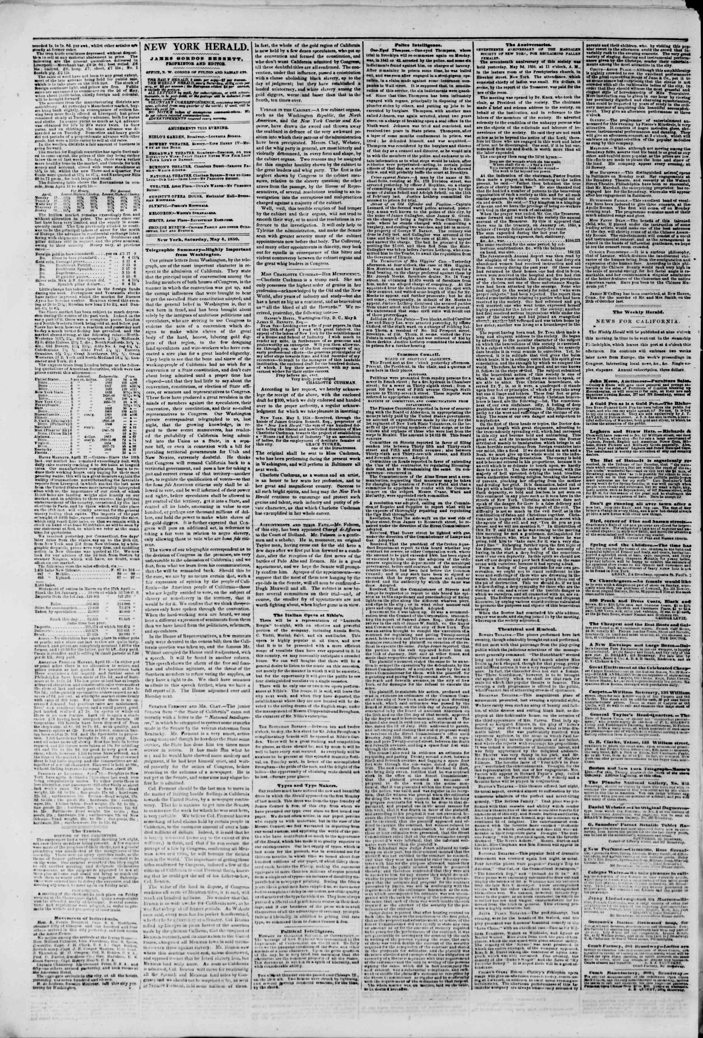 Newspaper of The New York Herald dated May 4, 1850 Page 2