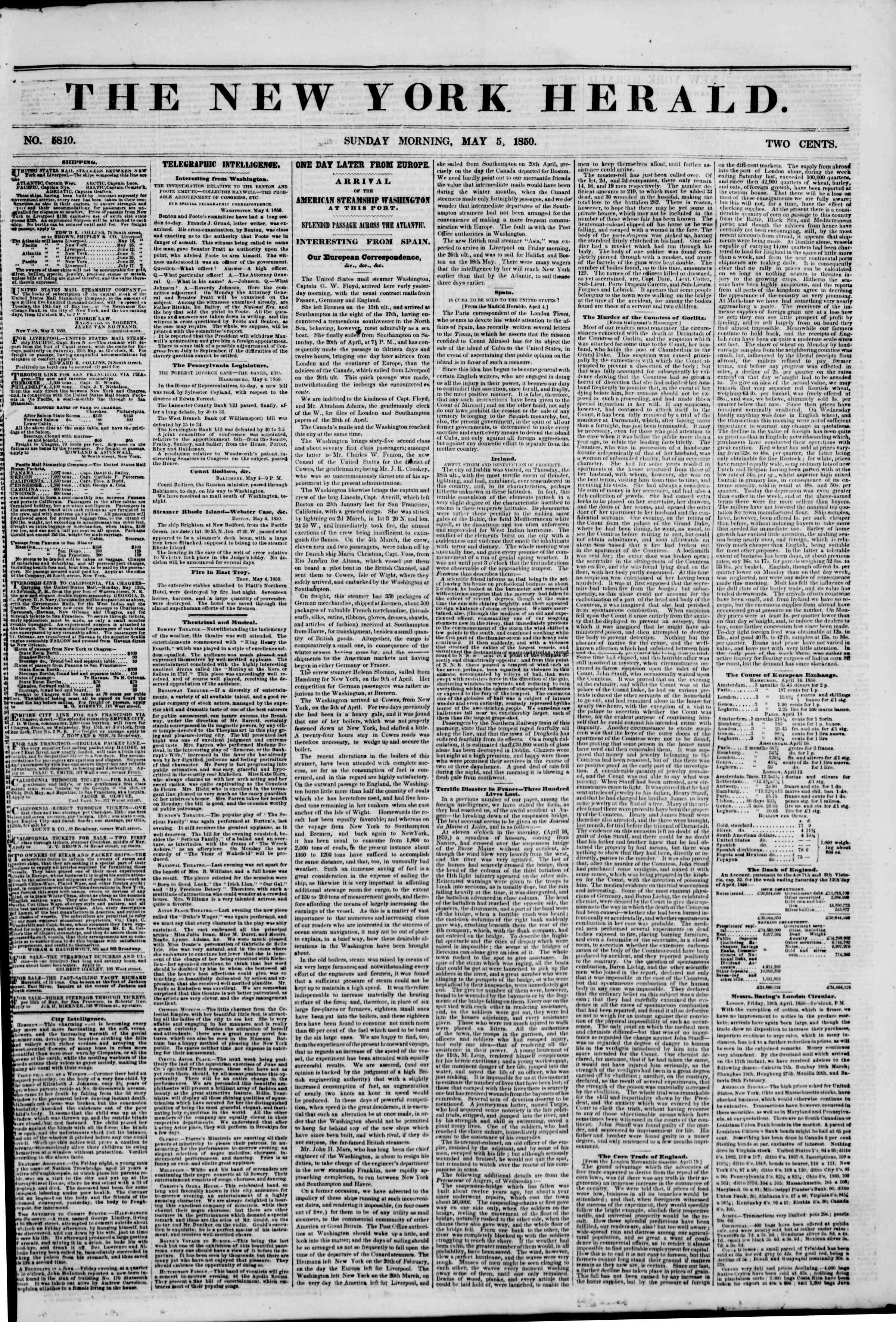 Newspaper of The New York Herald dated May 5, 1850 Page 1