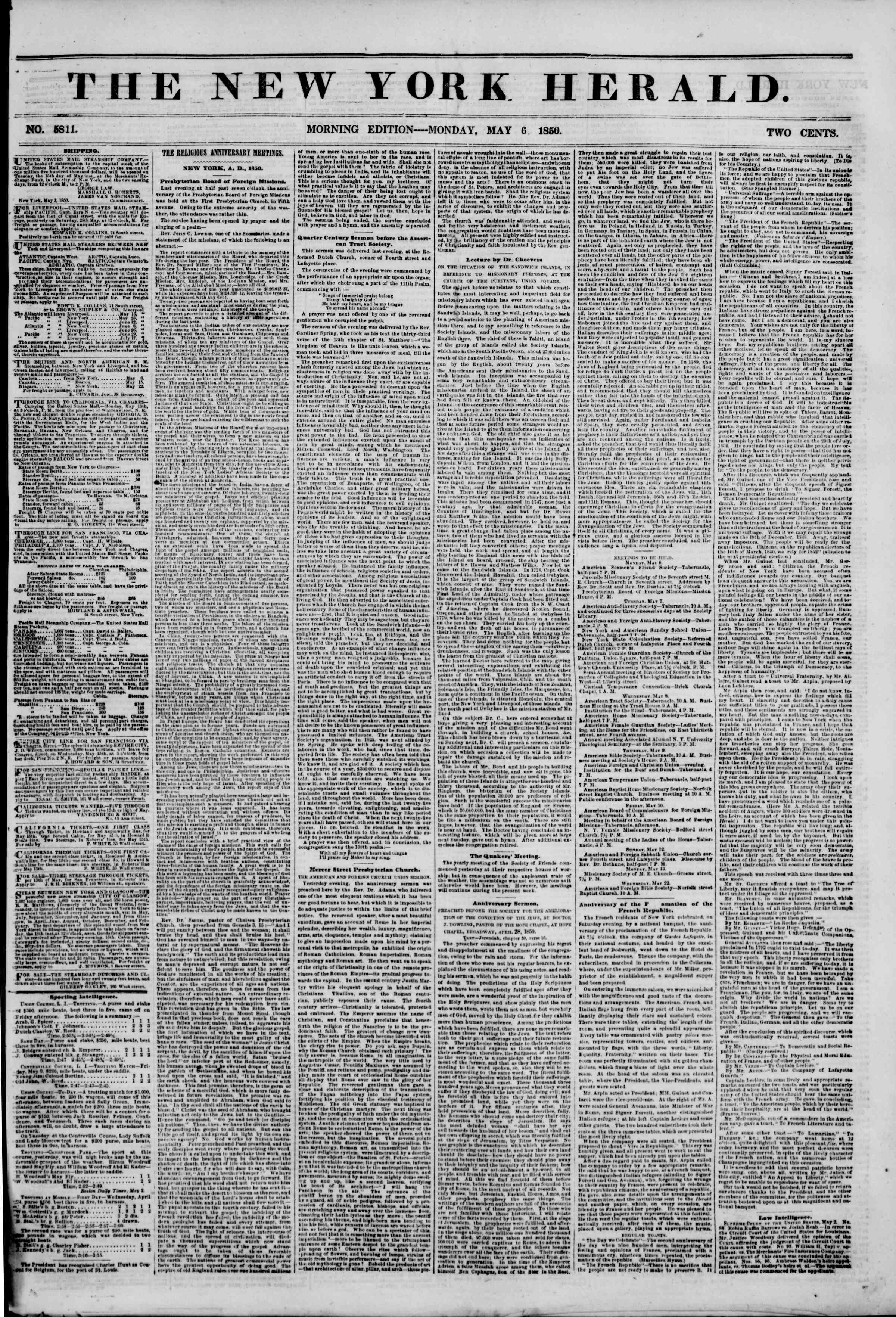 Newspaper of The New York Herald dated May 6, 1850 Page 1