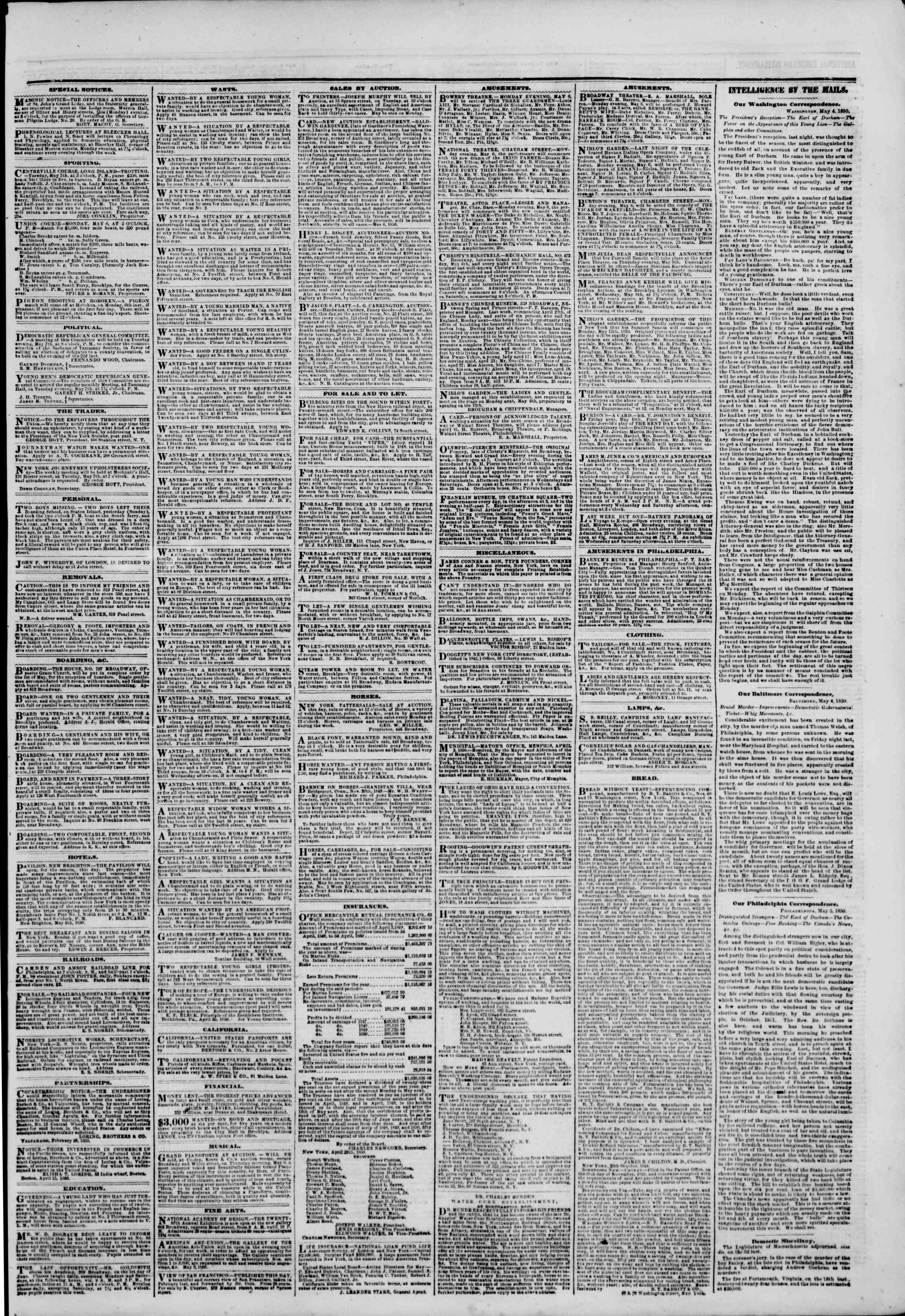 Newspaper of The New York Herald dated May 6, 1850 Page 3