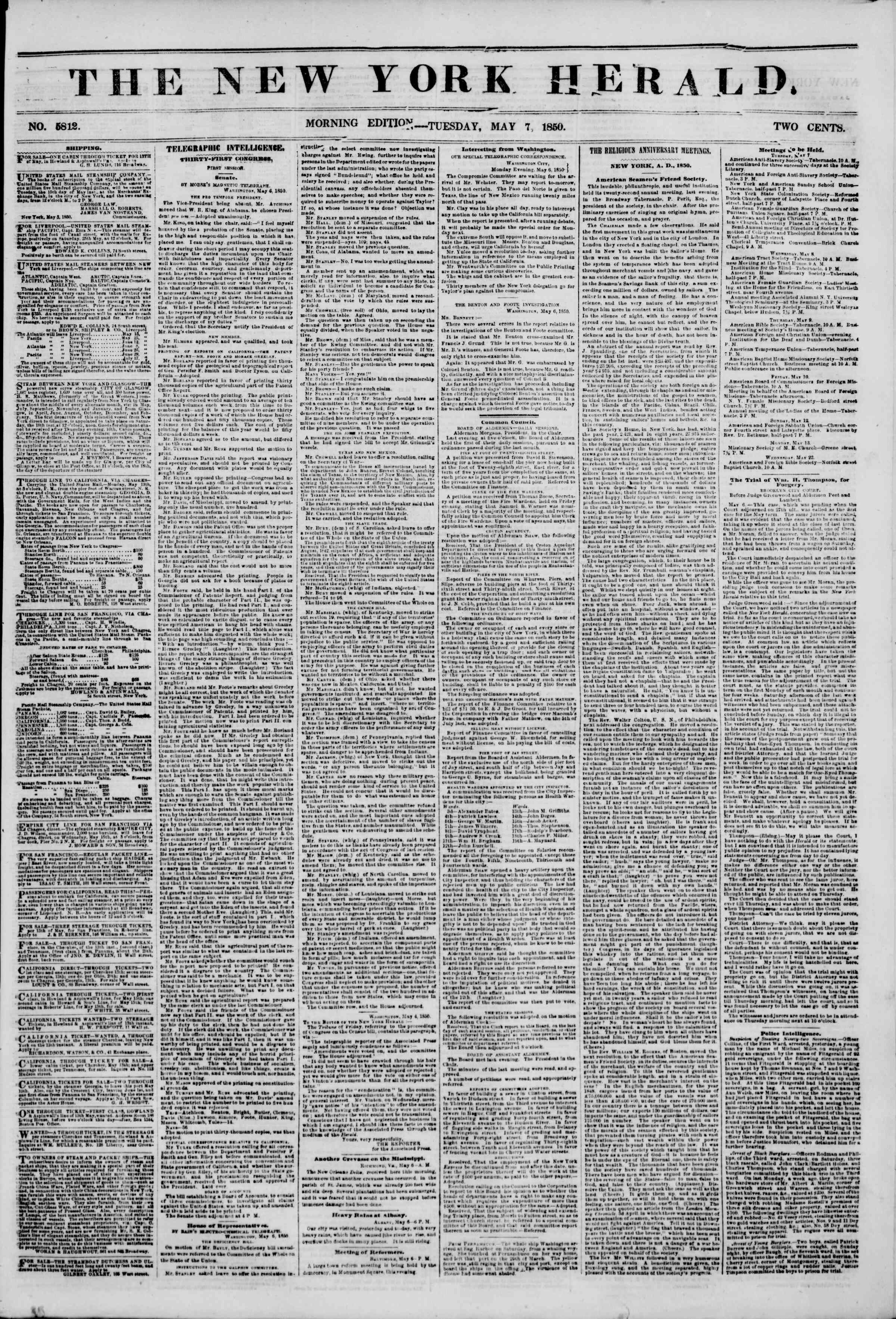Newspaper of The New York Herald dated May 7, 1850 Page 1
