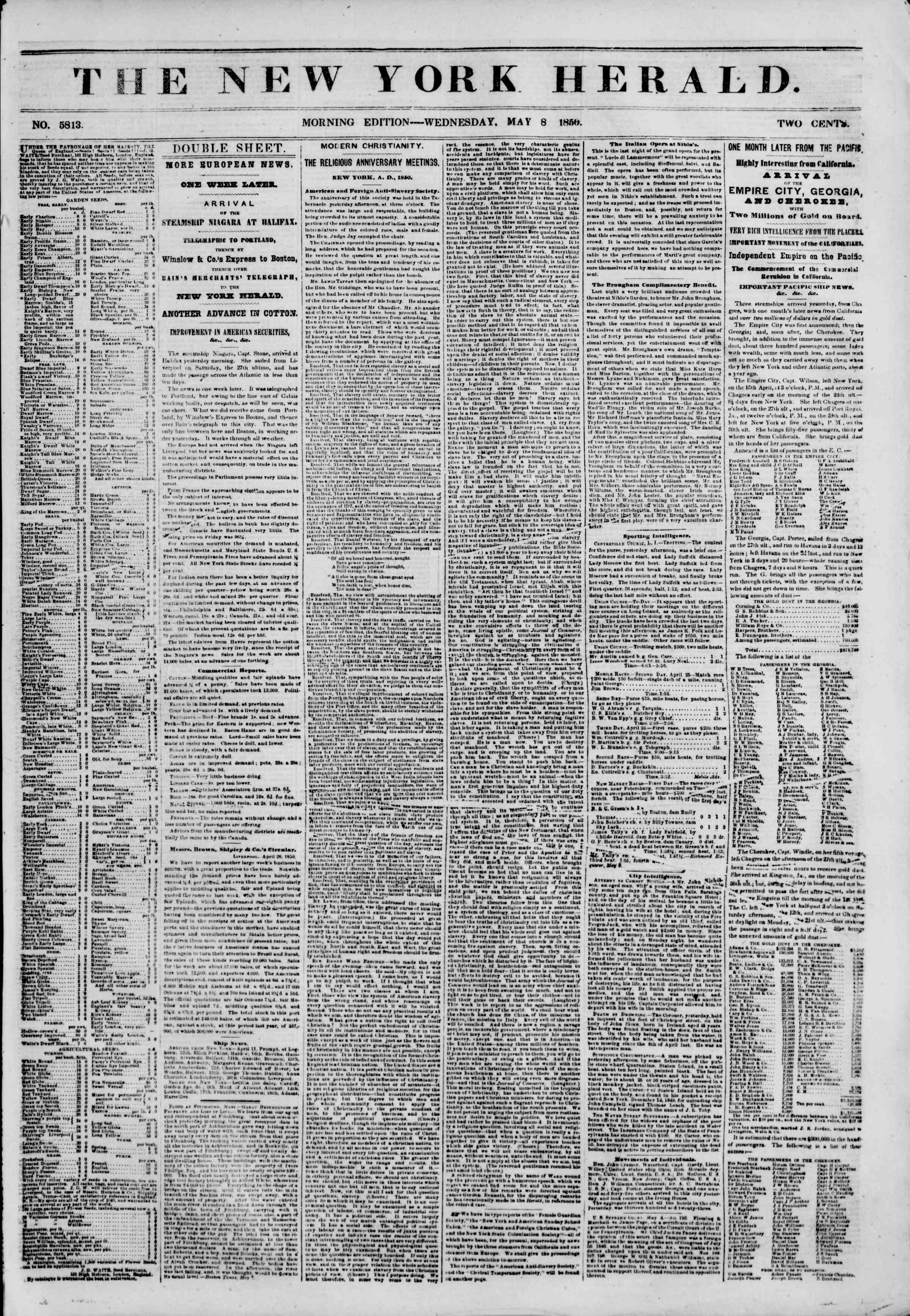 Newspaper of The New York Herald dated May 8, 1850 Page 1