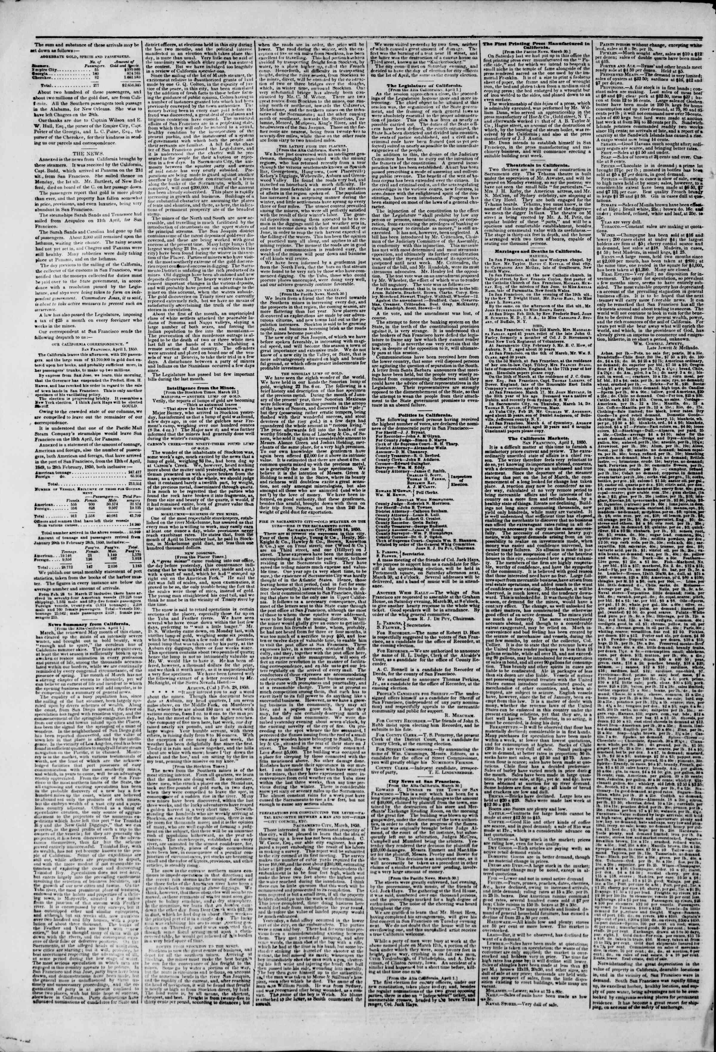 Newspaper of The New York Herald dated May 8, 1850 Page 2