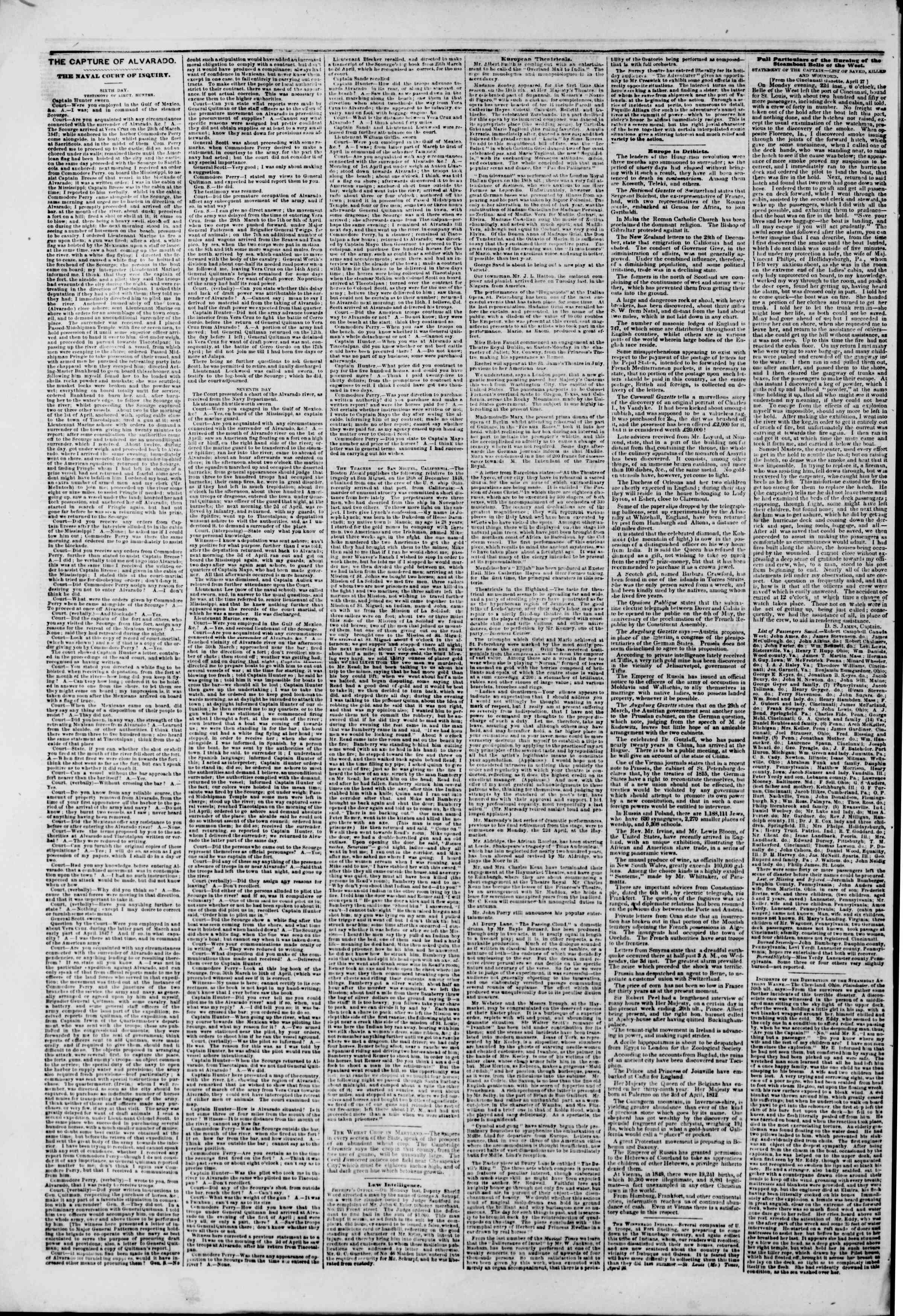 Newspaper of The New York Herald dated May 8, 1850 Page 6