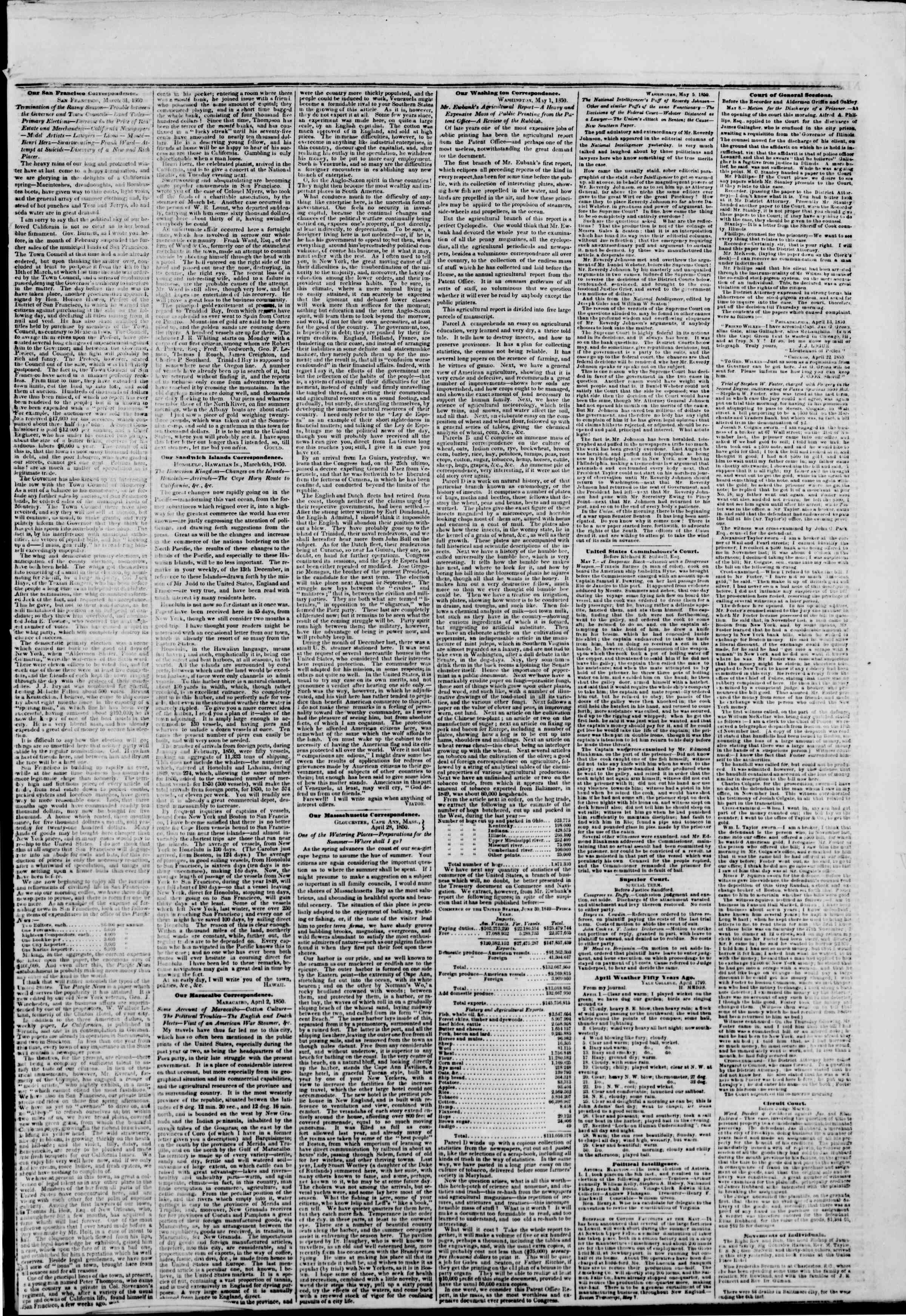 Newspaper of The New York Herald dated May 9, 1850 Page 5