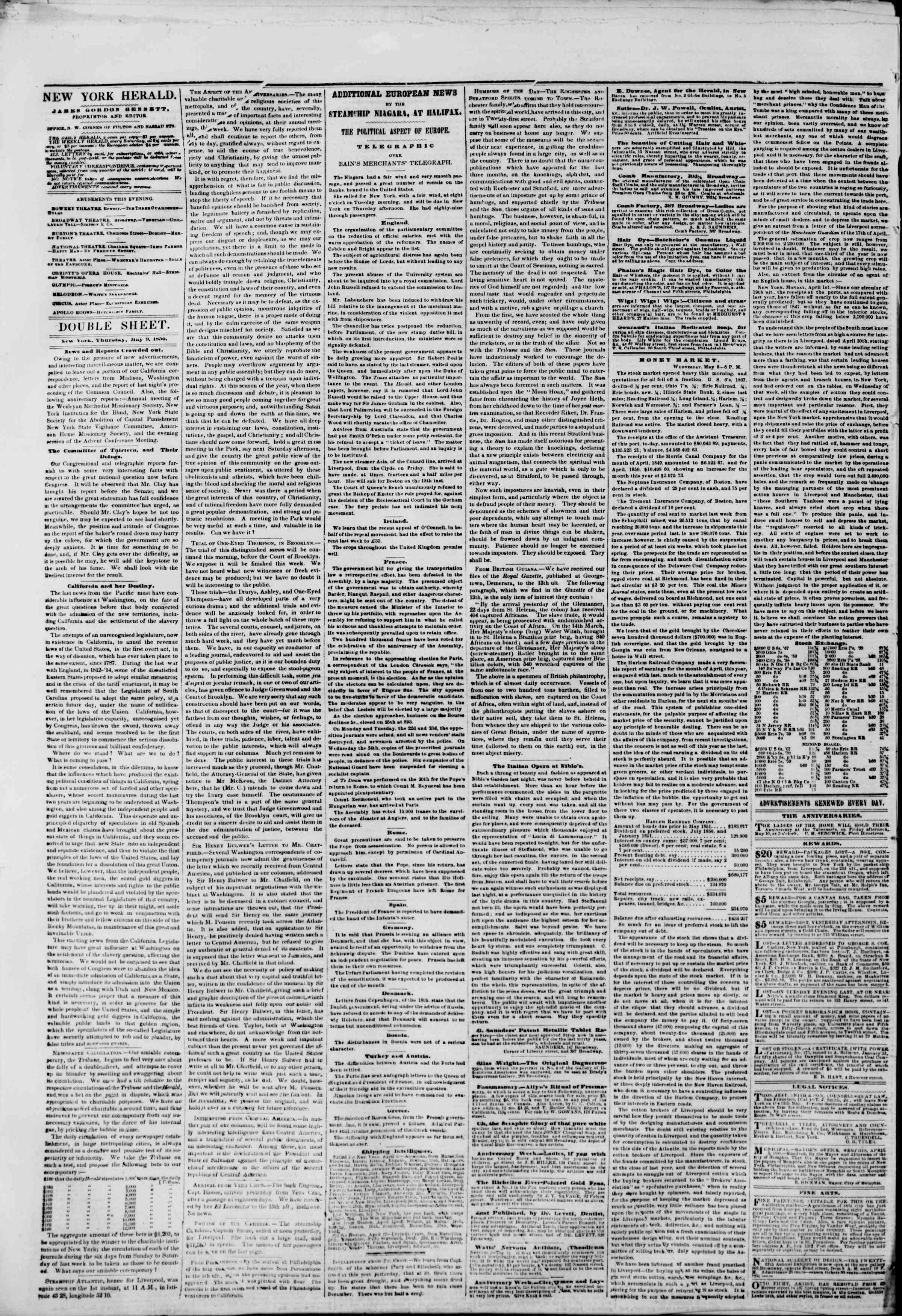 Newspaper of The New York Herald dated May 9, 1850 Page 6