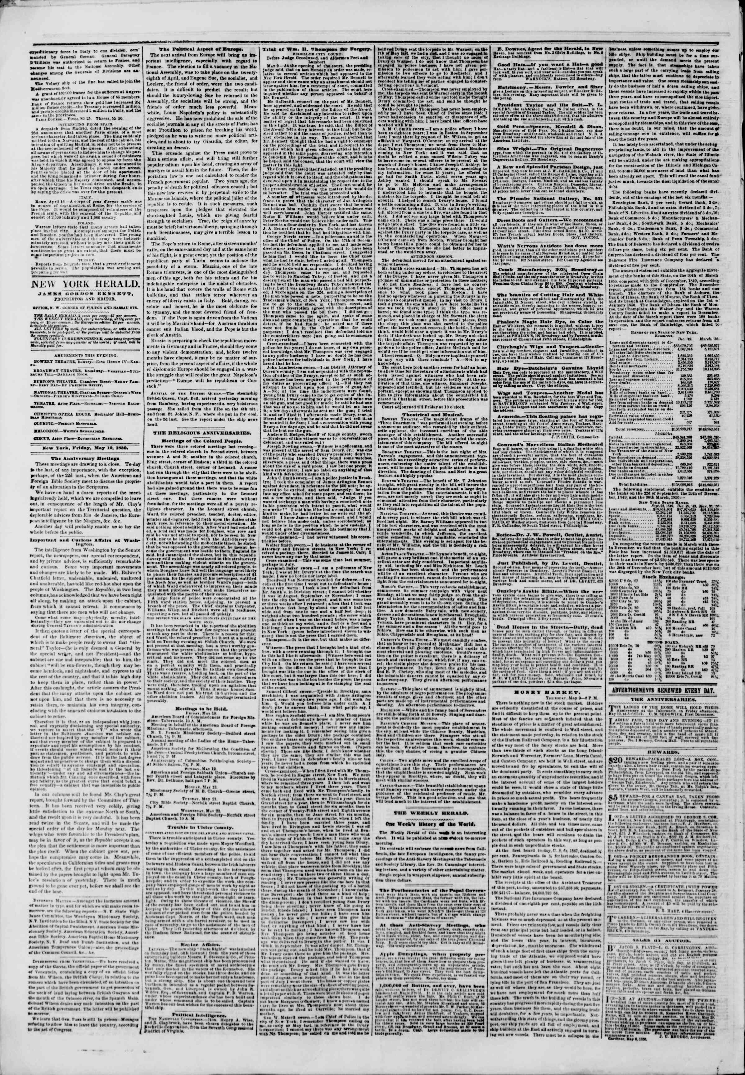 Newspaper of The New York Herald dated May 10, 1850 Page 2