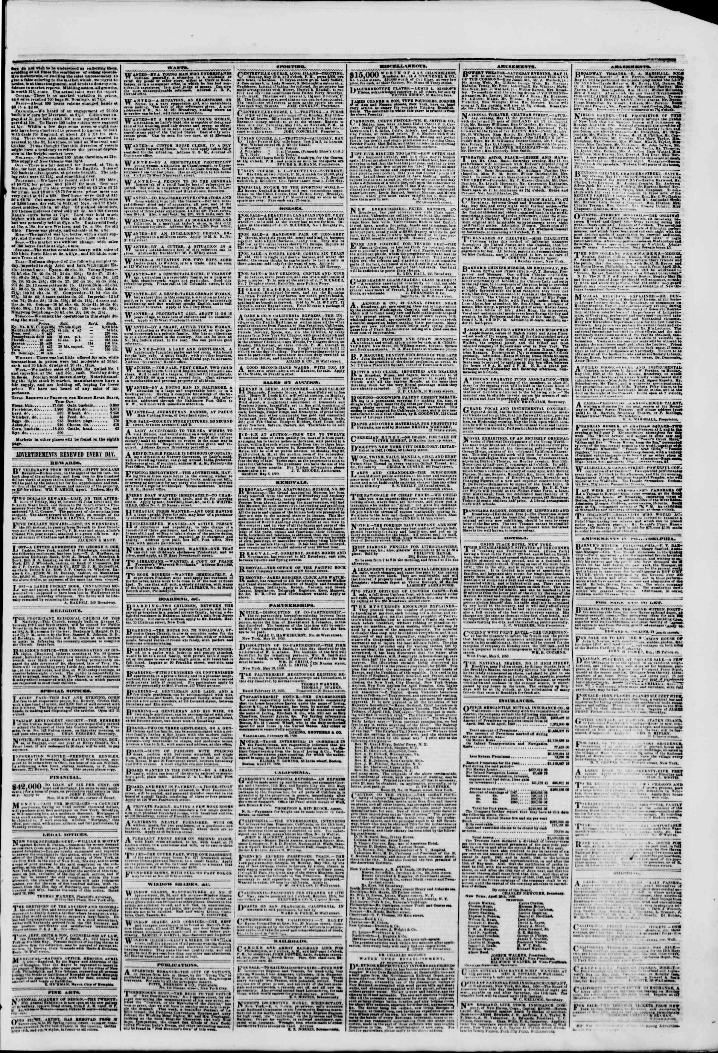 Newspaper of The New York Herald dated May 11, 1850 Page 3