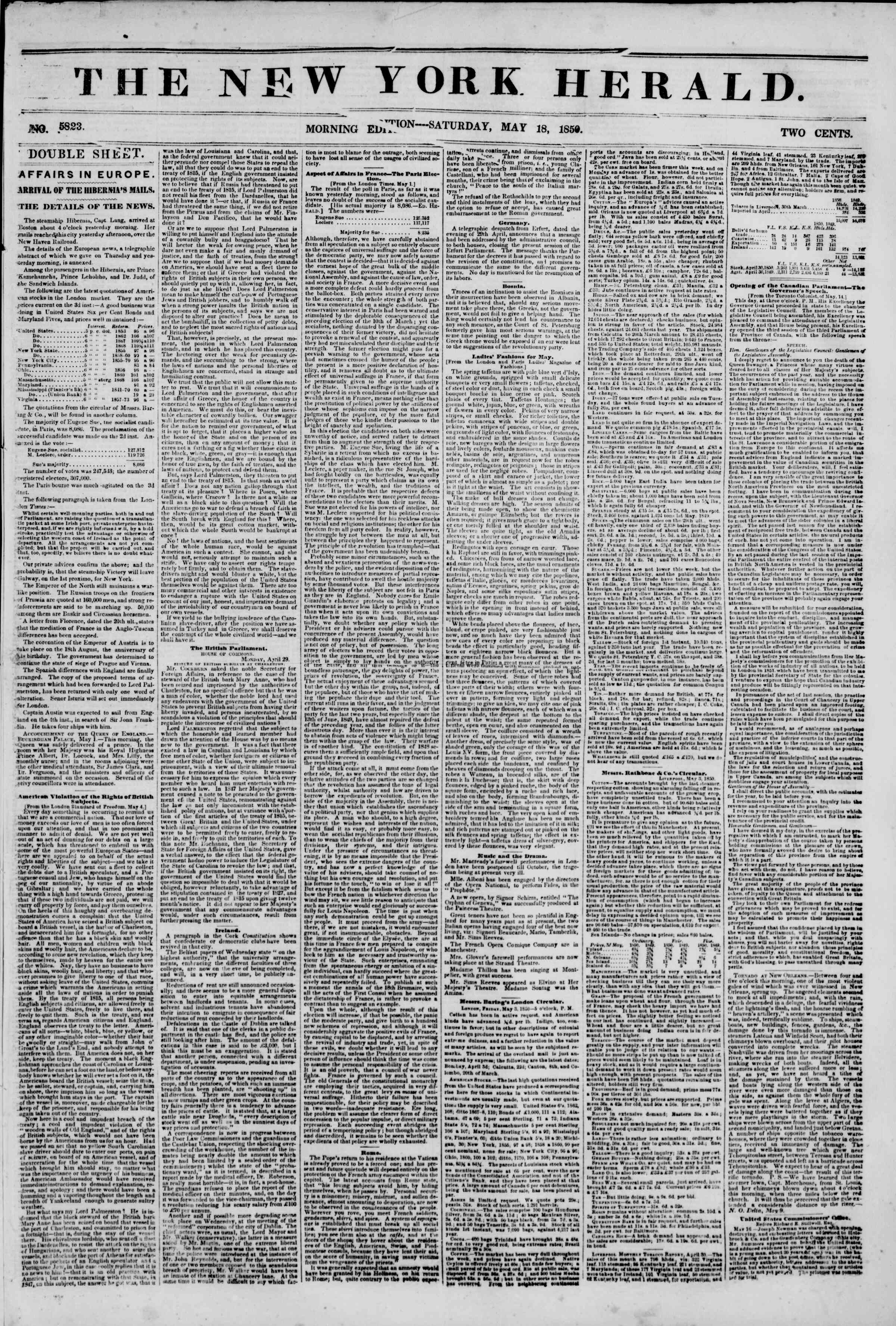 Newspaper of The New York Herald dated May 18, 1850 Page 1