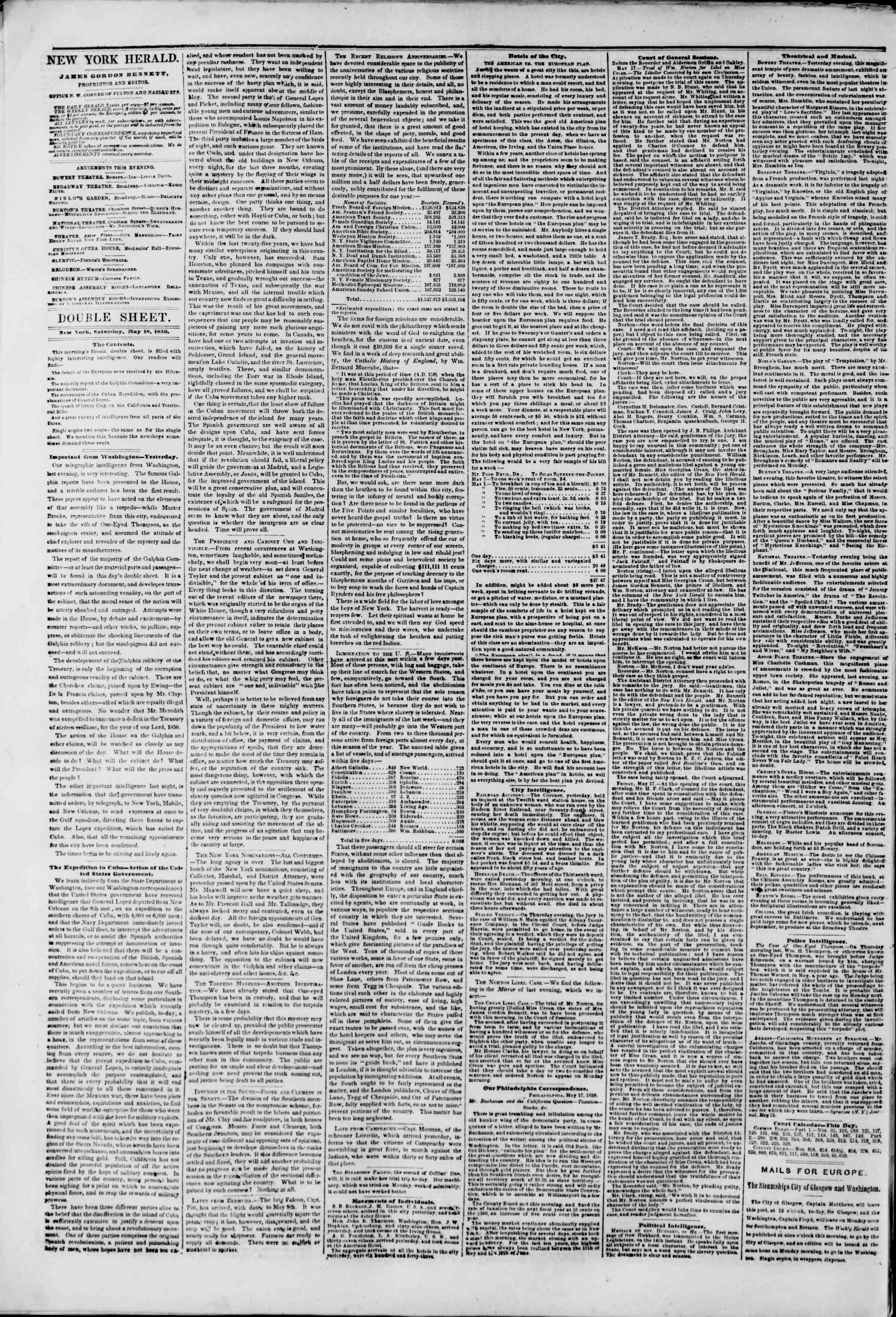 Newspaper of The New York Herald dated May 18, 1850 Page 4