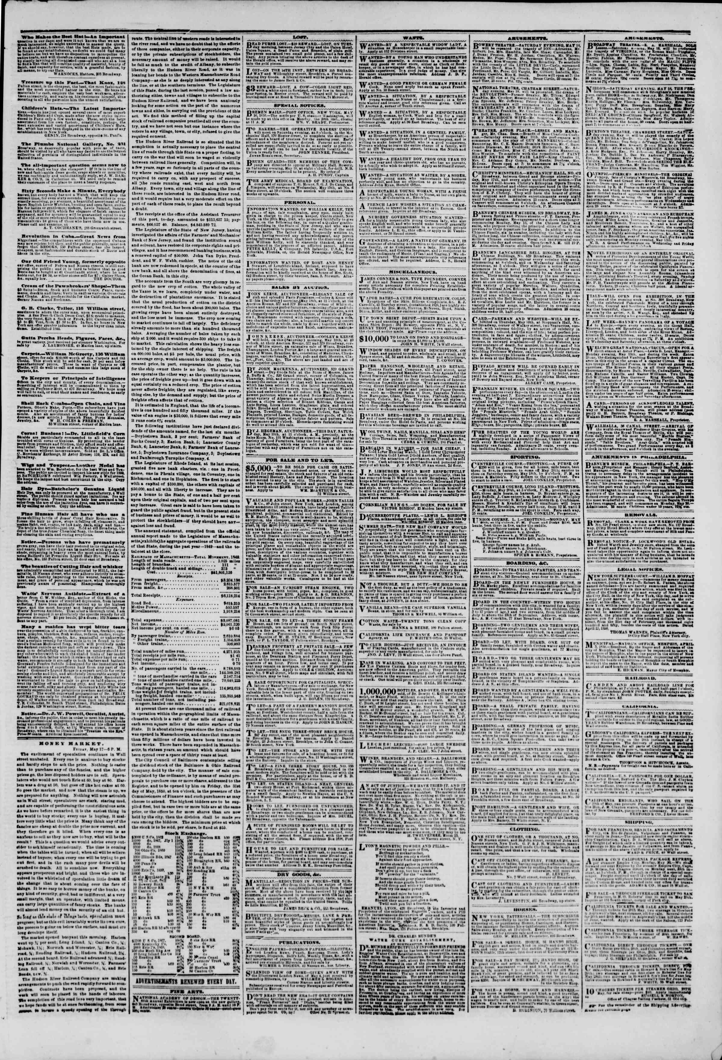 Newspaper of The New York Herald dated May 18, 1850 Page 5