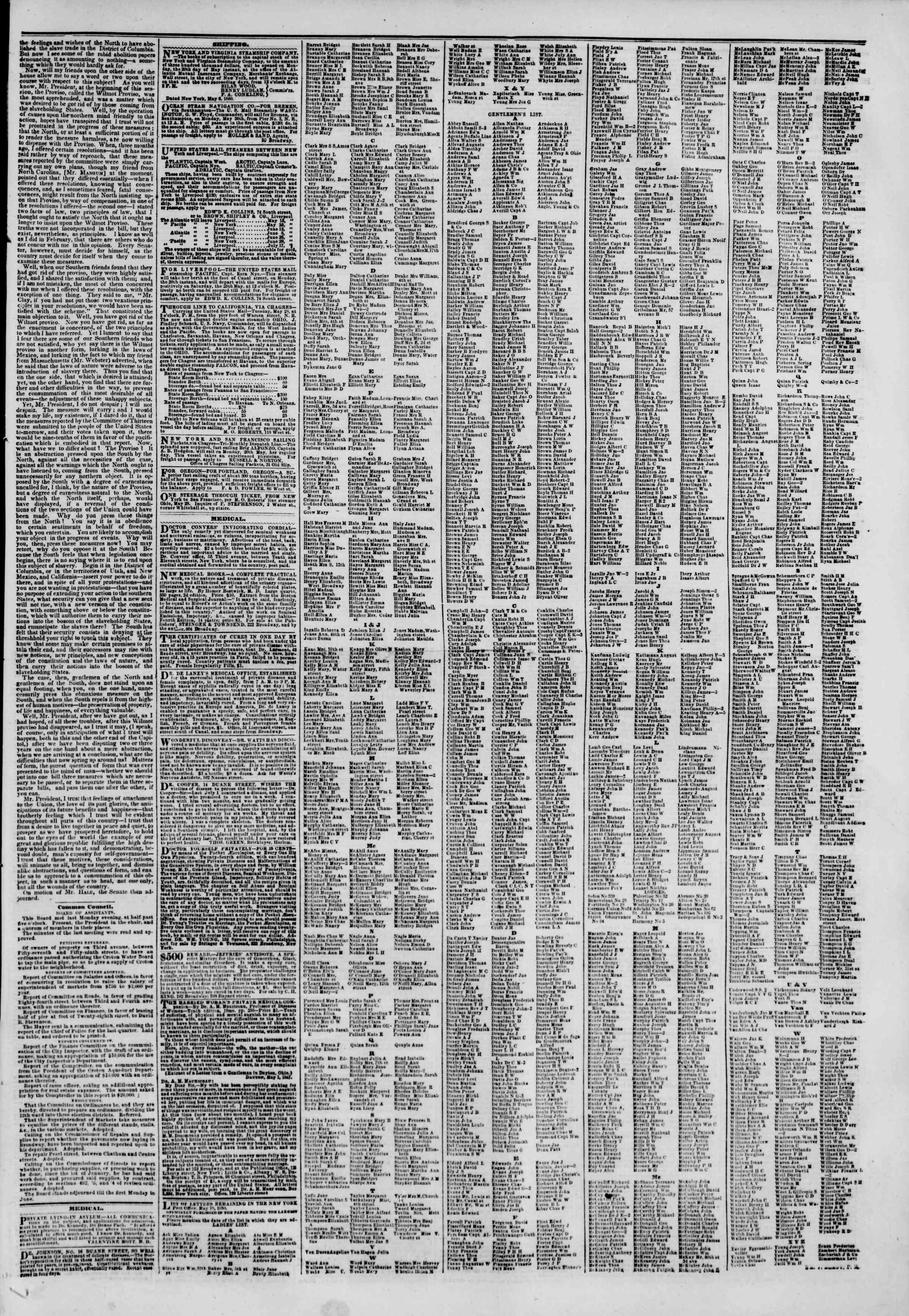 Newspaper of The New York Herald dated May 18, 1850 Page 7
